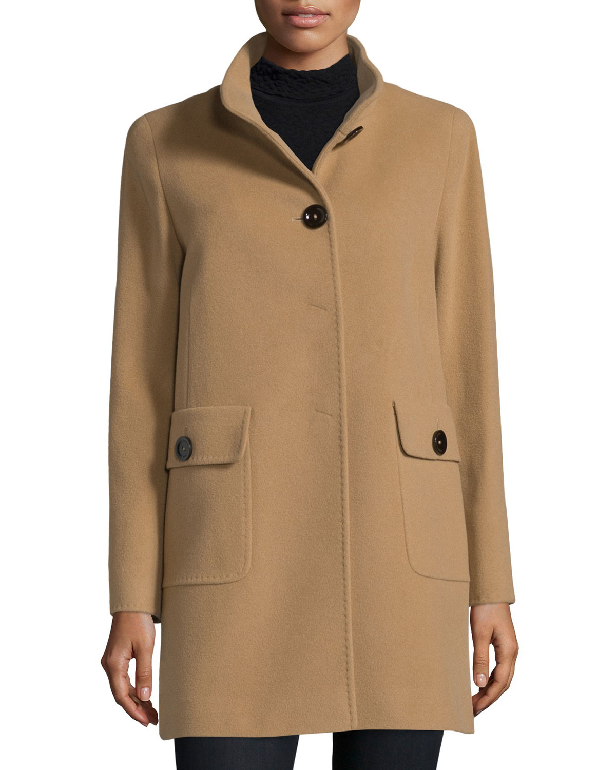 Lyst Cinzia Rocca Button Front Patch Pocket Car Coat In