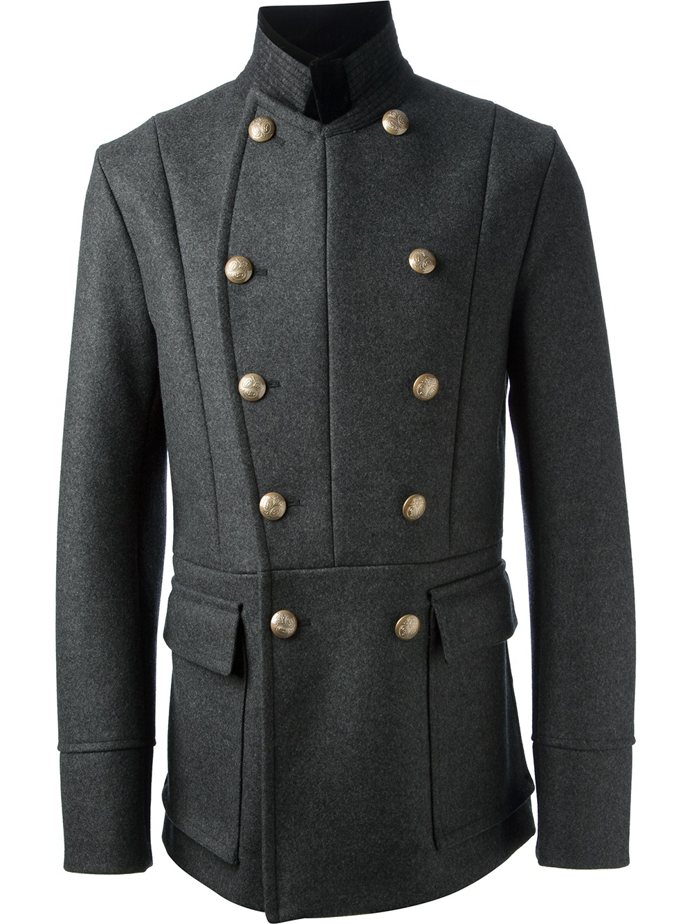 Gucci Military Peacoat in Gray for Men | Lyst
