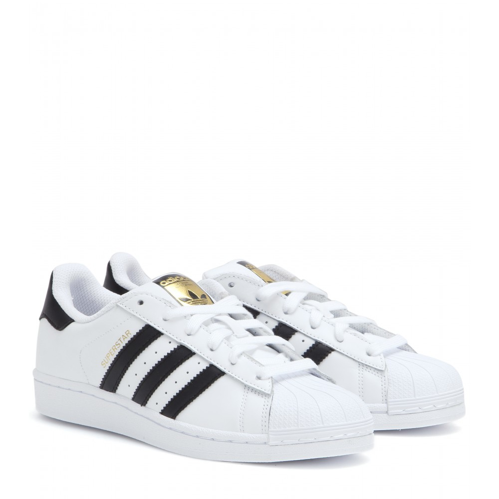 adidas superstar leather sneakers in white lyst. Black Bedroom Furniture Sets. Home Design Ideas