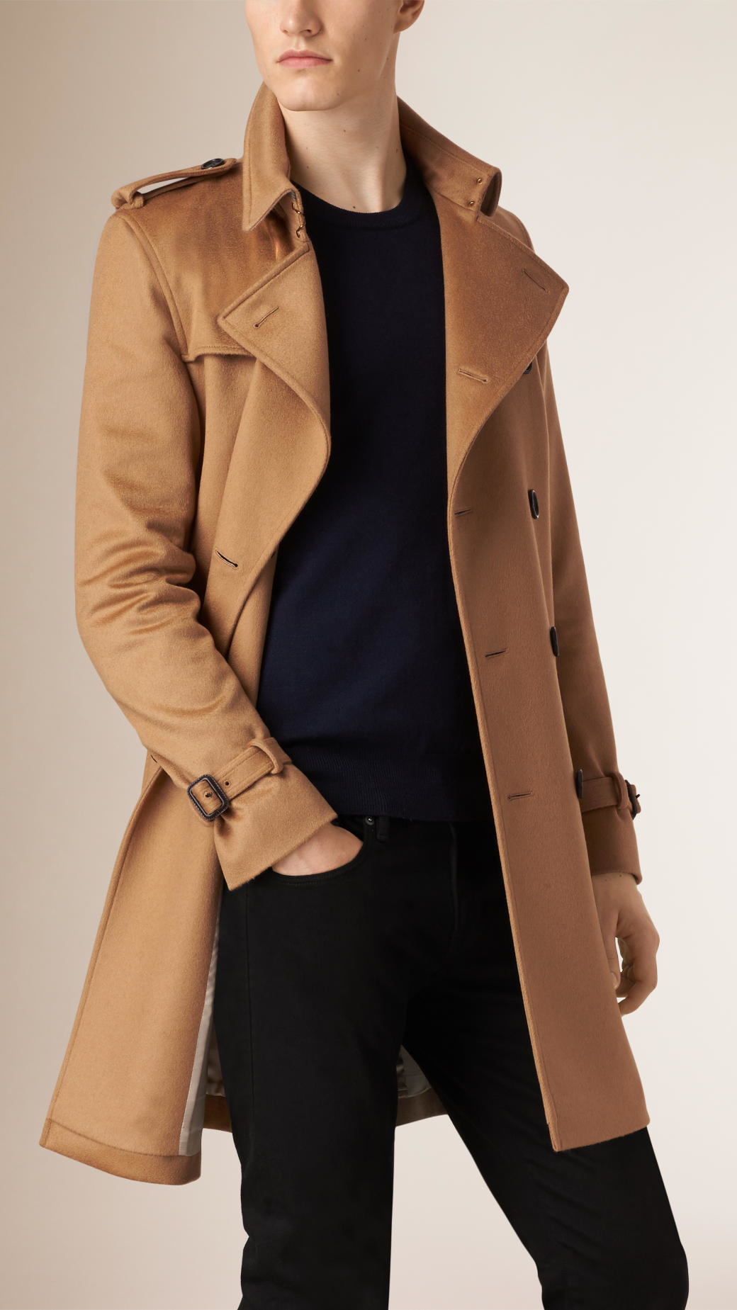 Burberry Sandringham Fit Cashmere Trench Coat in Natural for Men ...