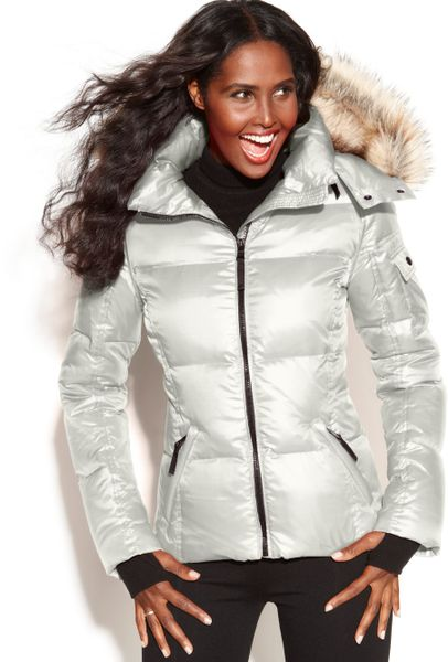 Sam Hooded Faux Fur Trim Quilted Puffer In White Lyst