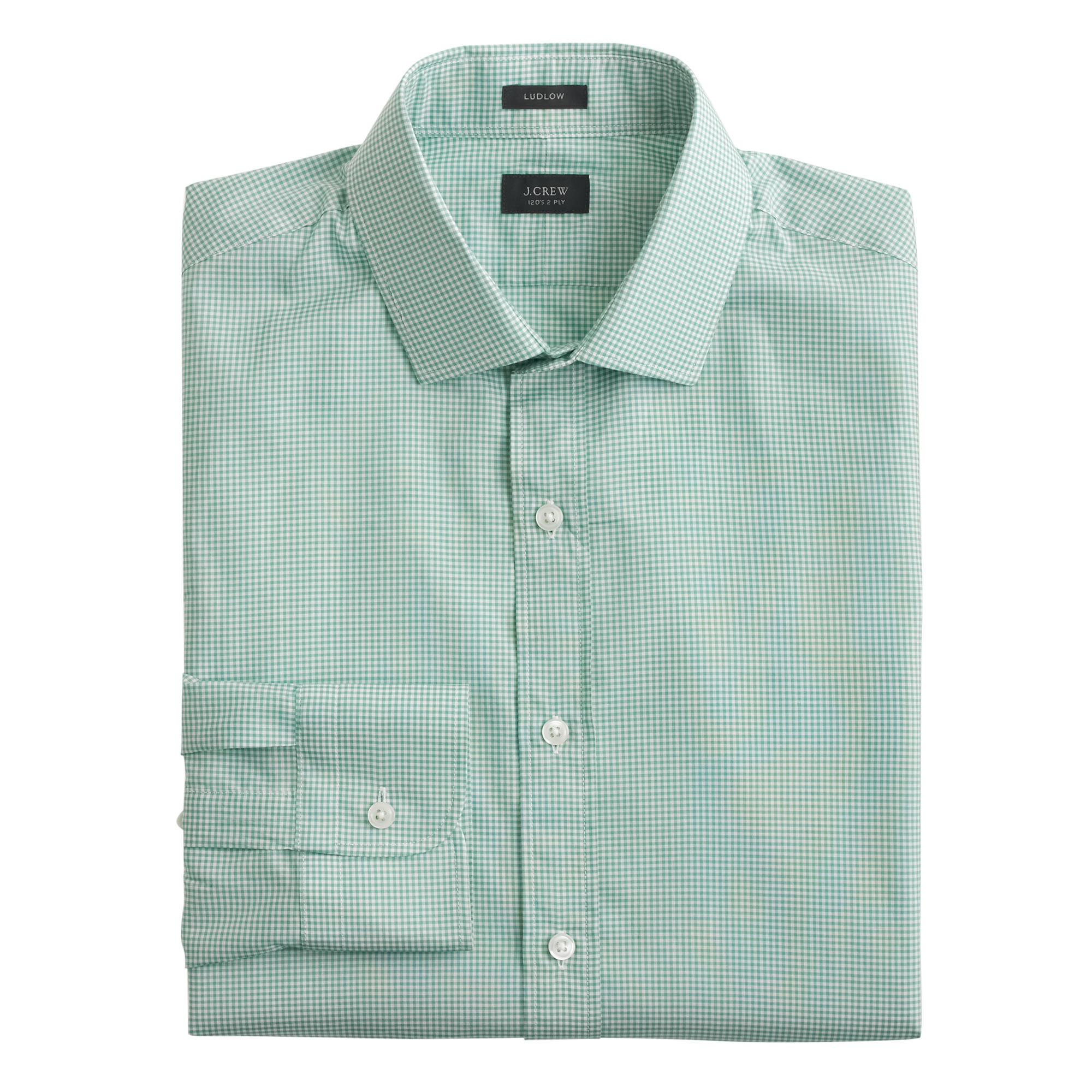 Lyst j crew ludlow shirt in gingham in green for men for Mens green gingham dress shirt