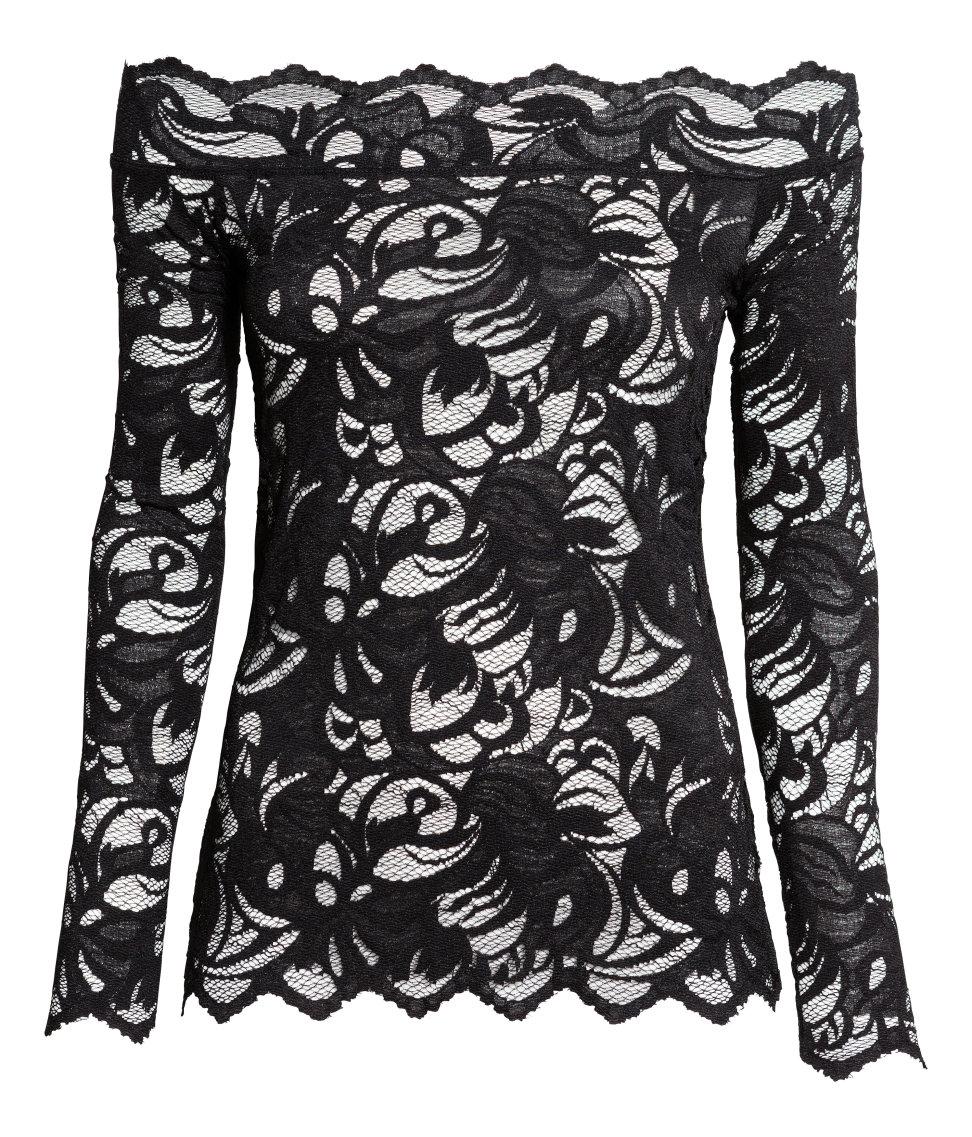 019dede1669ffa H&M Lace Off-the-shoulder Top in Black - Lyst