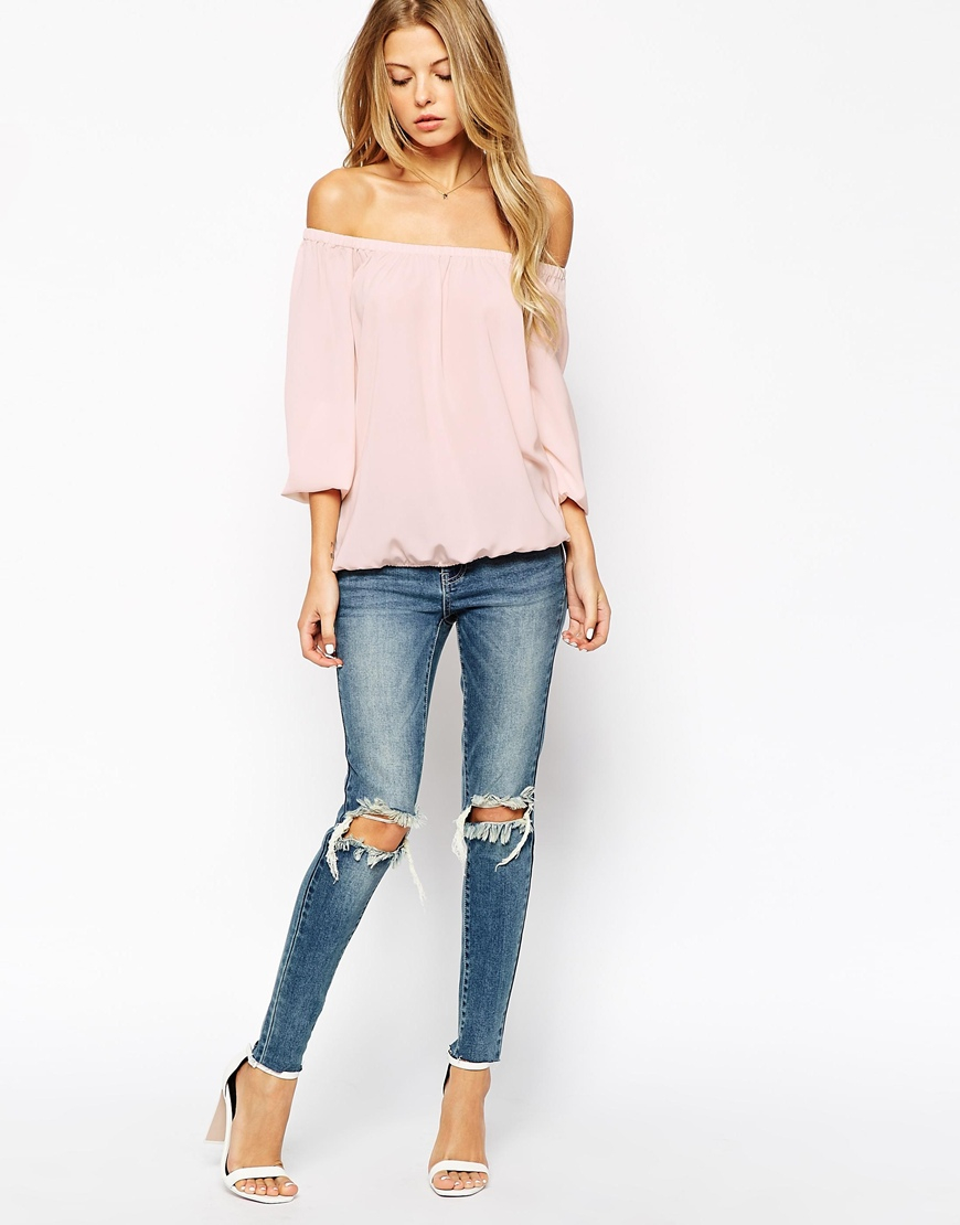 eed533ecd40 Vila Off The Shoulder Top in Pink - Lyst