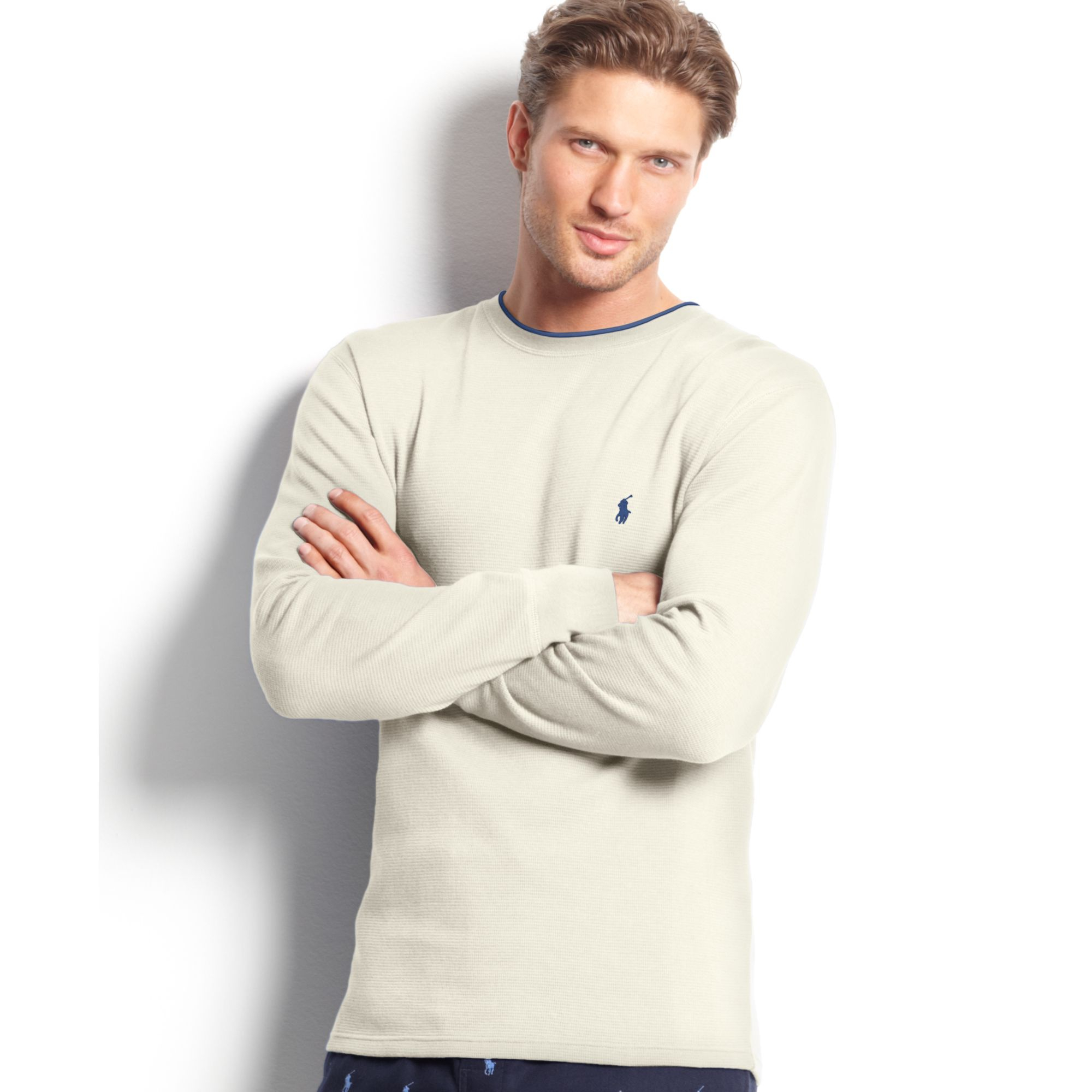ralph lauren long sleeve crew neck tipped waffle thermal top in beige for men nevis beige lyst. Black Bedroom Furniture Sets. Home Design Ideas
