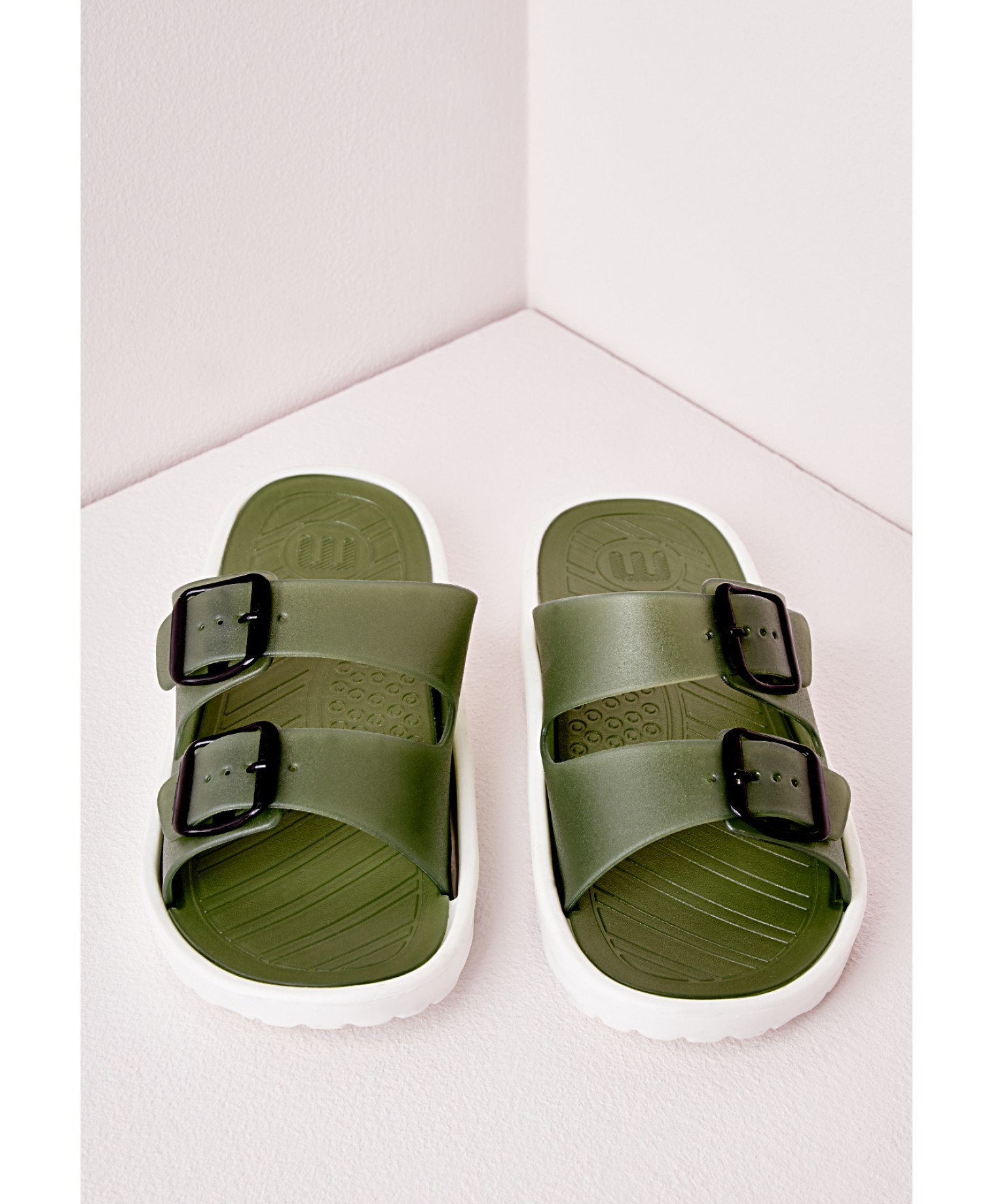 Missguided flexi double strap buckled sandal khaki in khaki lyst - Missguided head office address ...