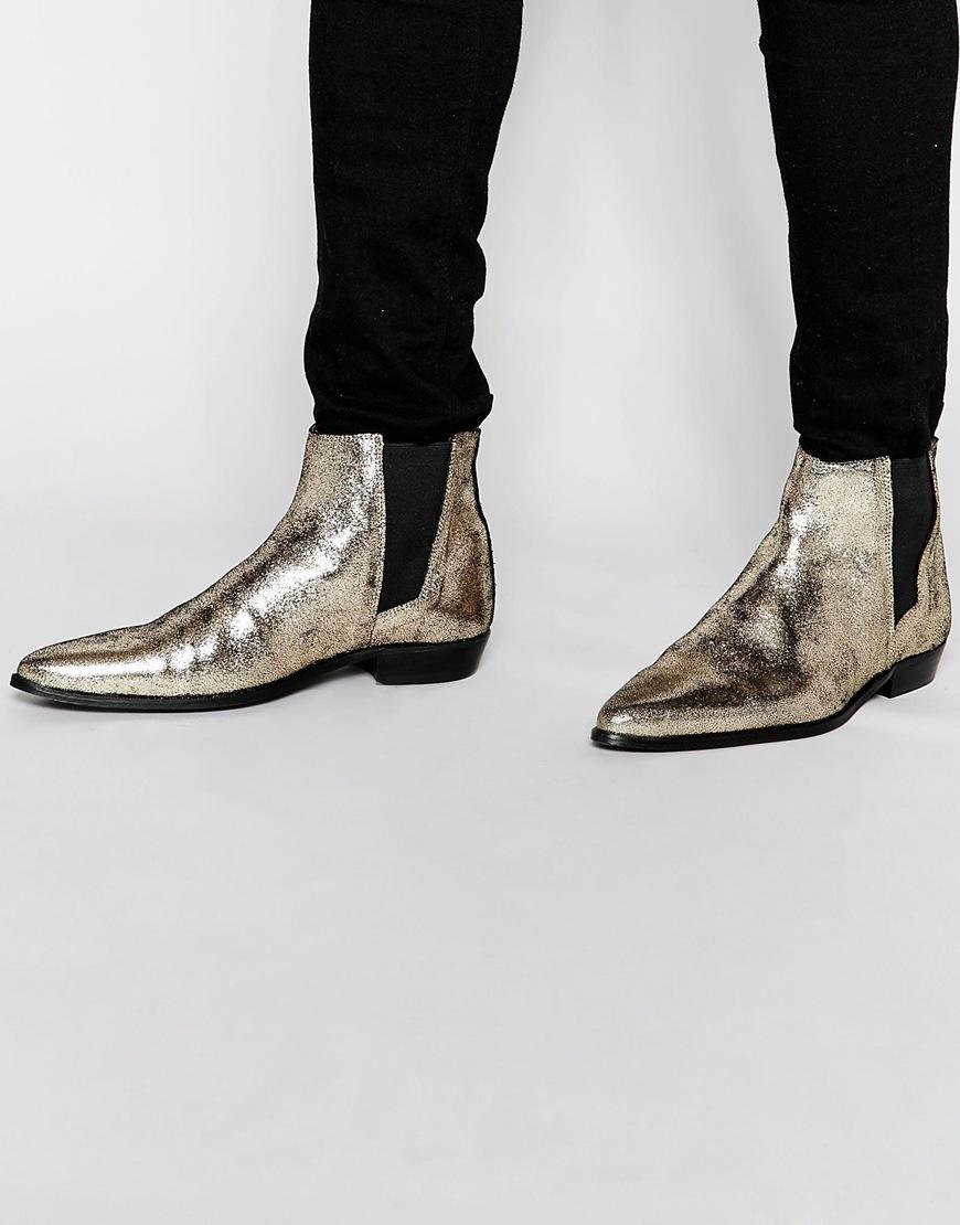 asos chelsea boots in metallic gold in metallic for lyst