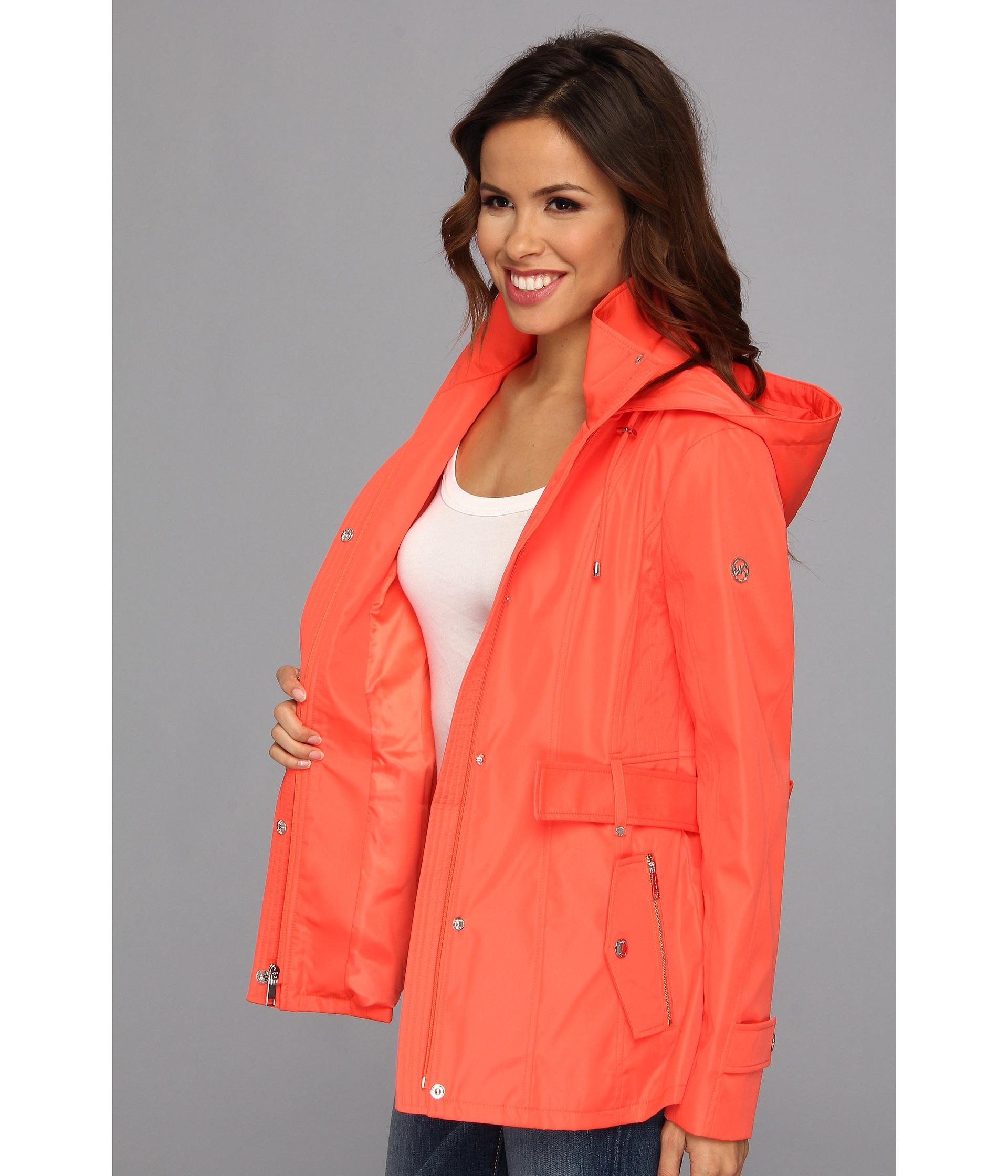 Michael michael kors Hooded Rain Jacket in Orange   Lyst