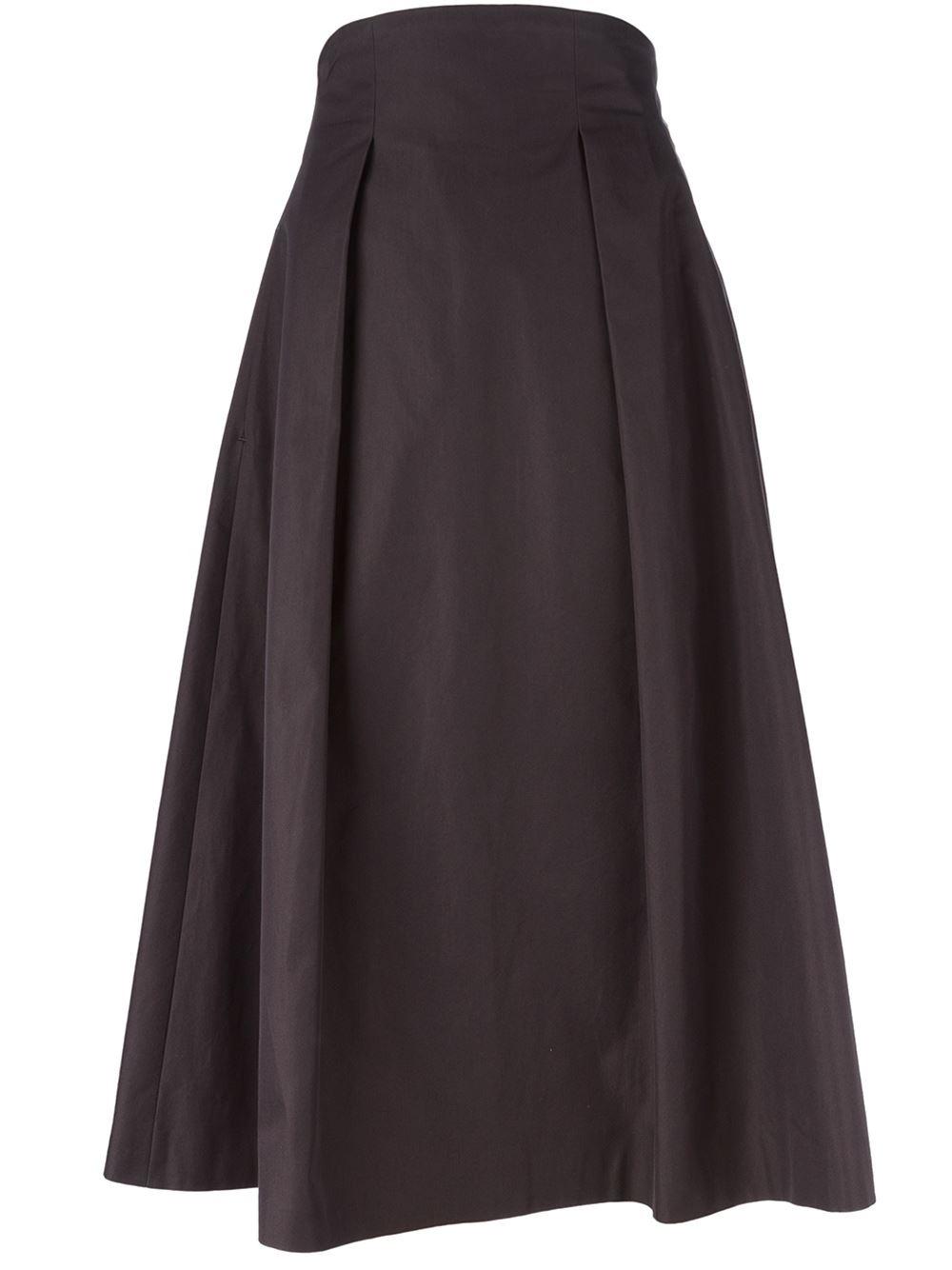 golden goose deluxe brand pleated sides midi skirt in blue
