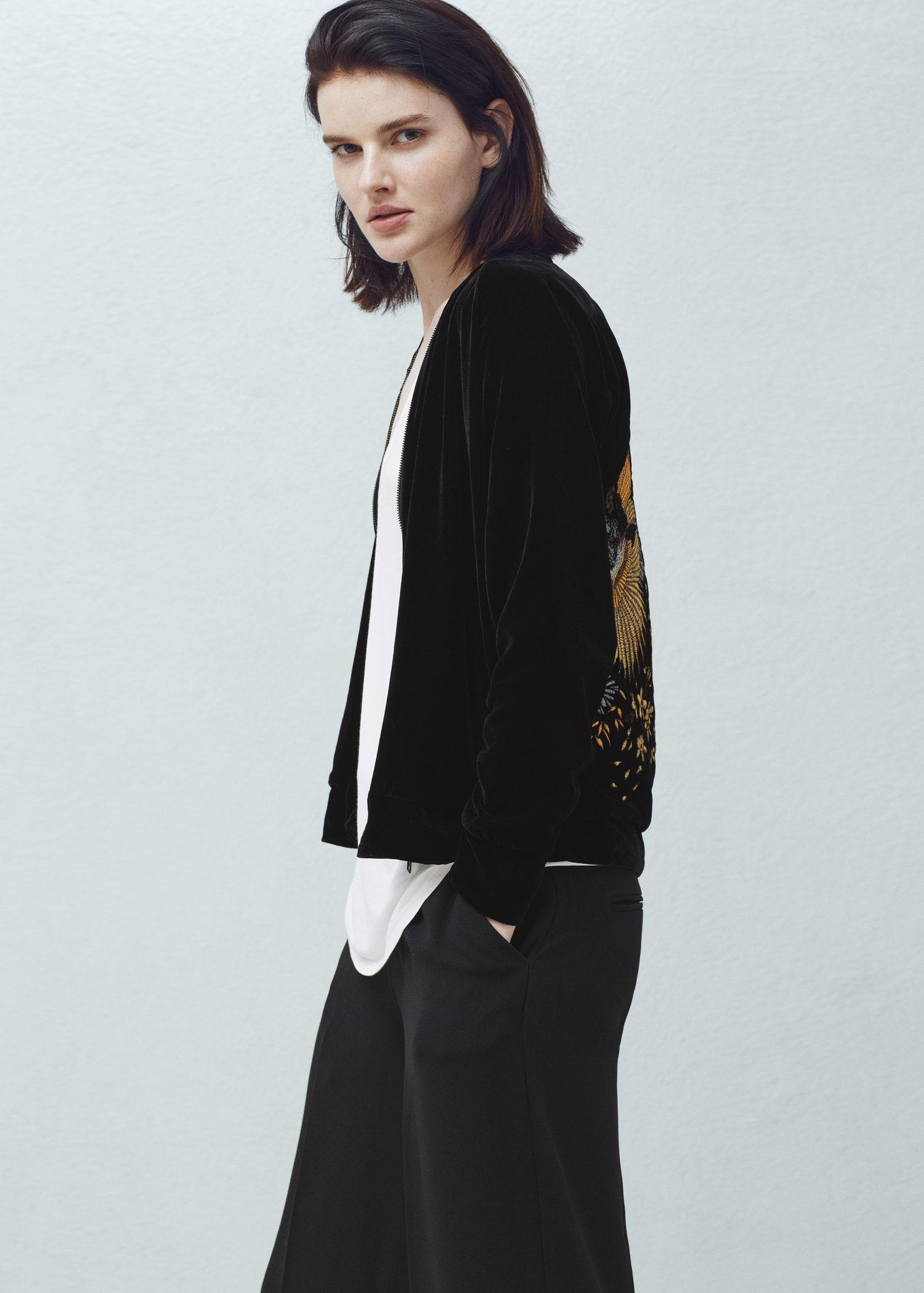 Mango Embroidered Velvet Bomber Jacket In Black   Lyst