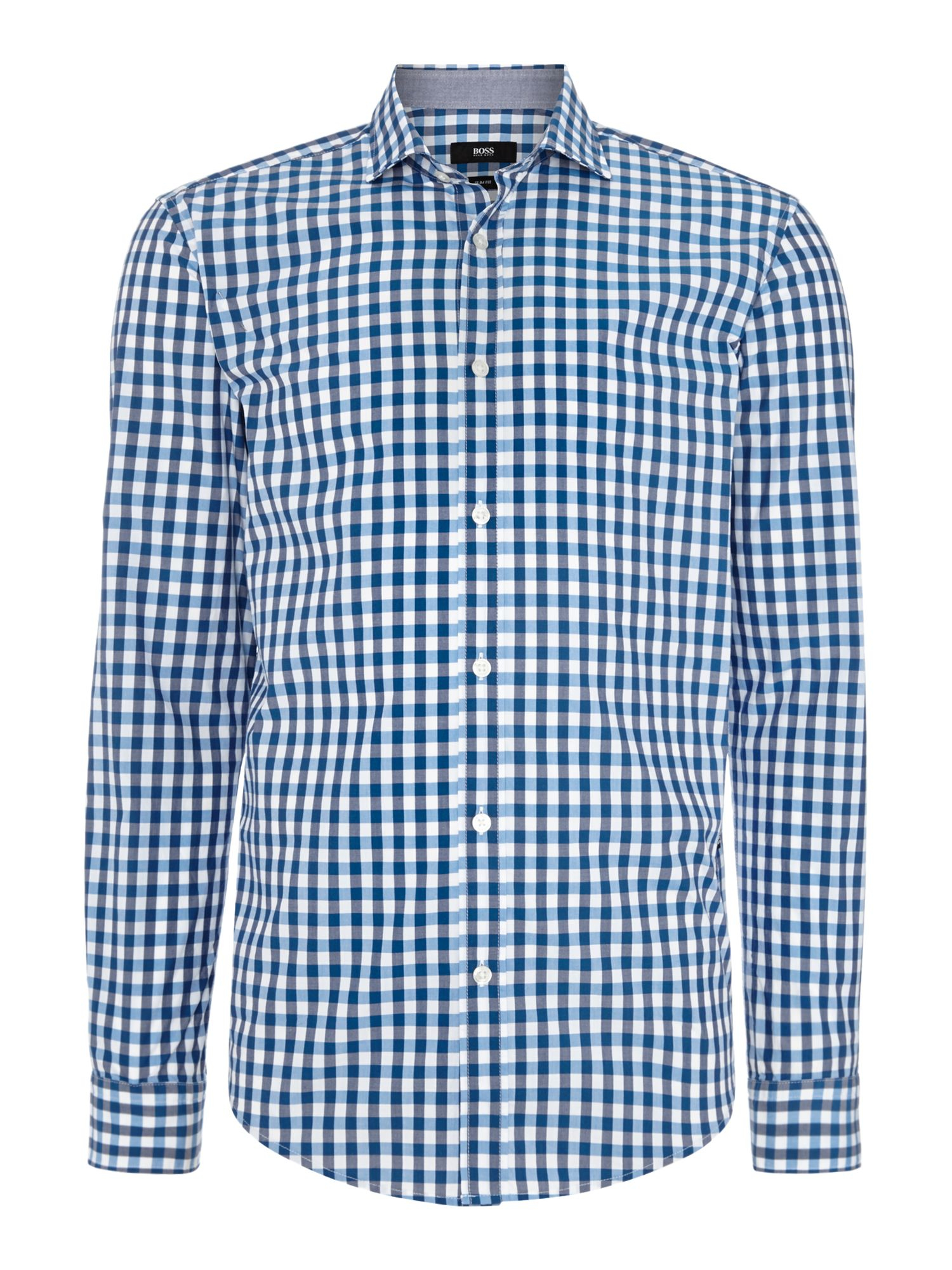 Boss ridley slim fit gingham shirt in blue for men navy for Navy blue gingham shirt