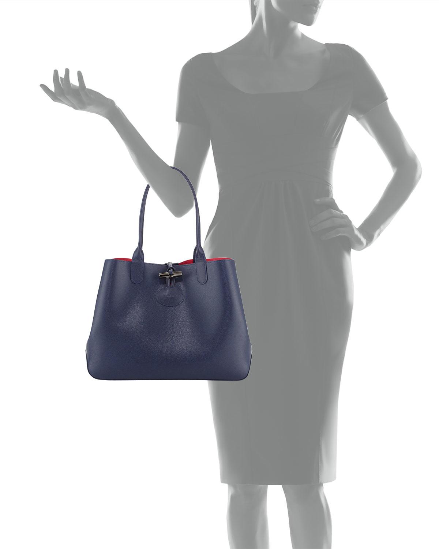Lyst - Longchamp Roseau Reversible Leather Tote Bag in Black 3a24e8a757979