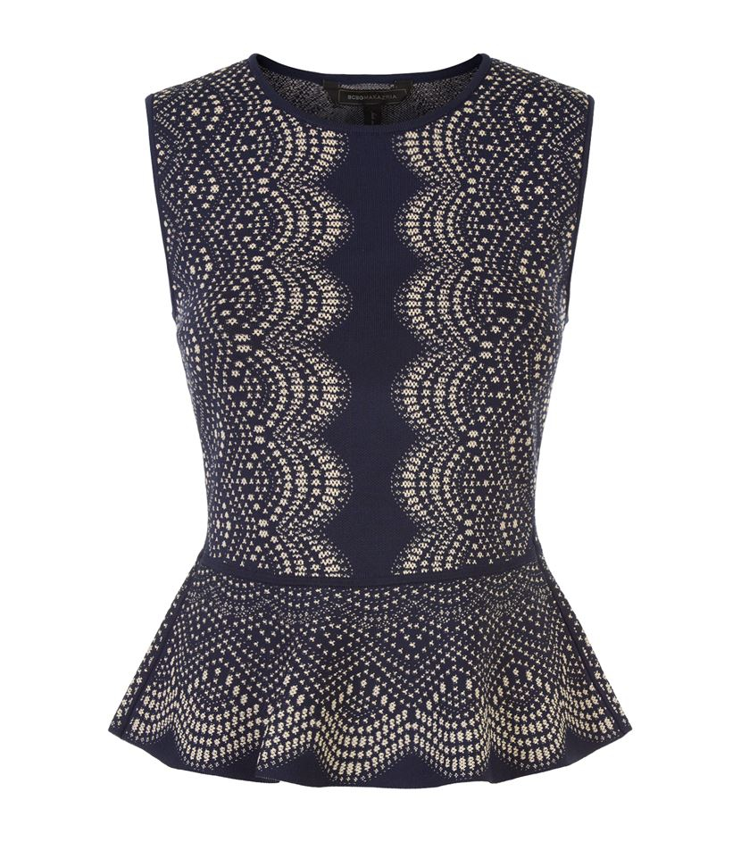 Peplum Knitting Patterns : Bcbgmaxazria Knitted Peplum Top in Black Lyst
