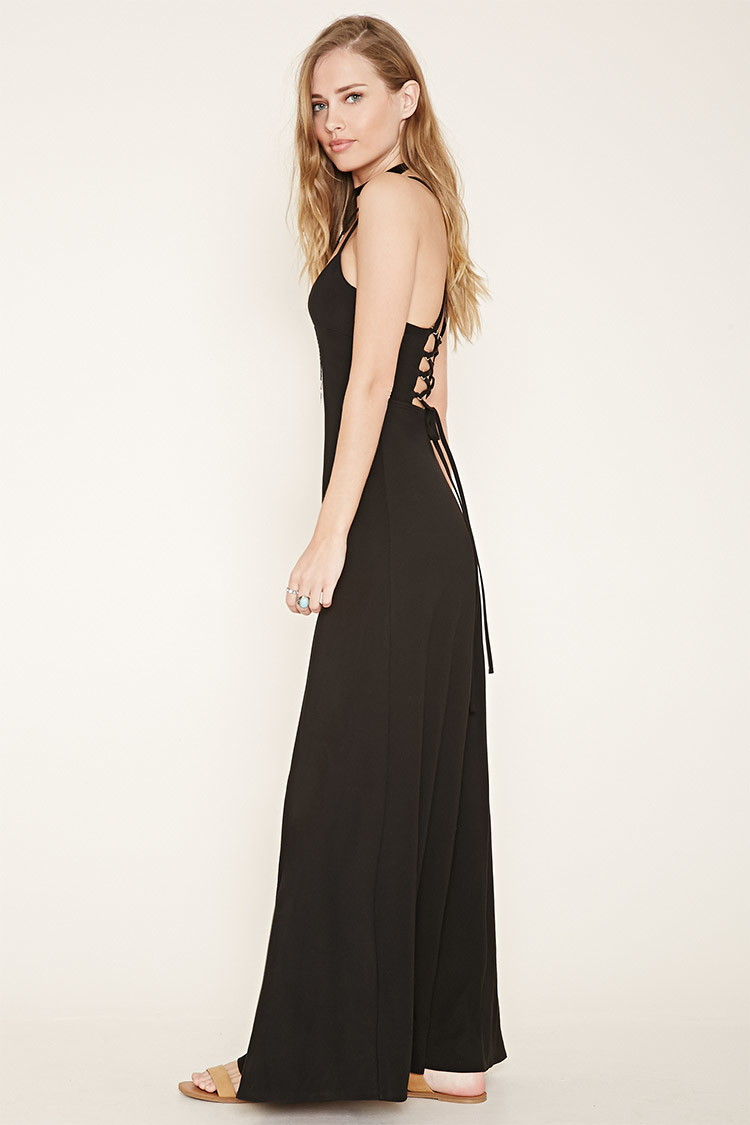 Forever 21 Lace-up Back Maxi Dress in Black | Lyst