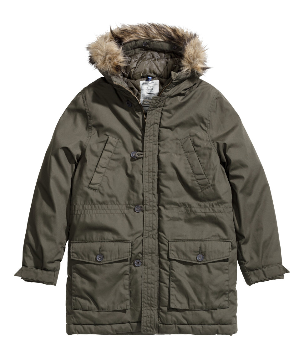 H&m Padded Parka in Green for Men | Lyst
