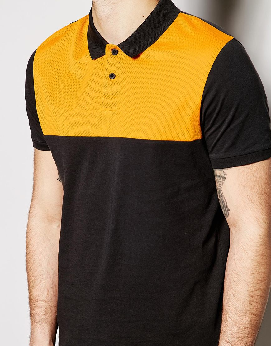 Asos Polo Shirt With Mesh Panel In Black For Men Lyst
