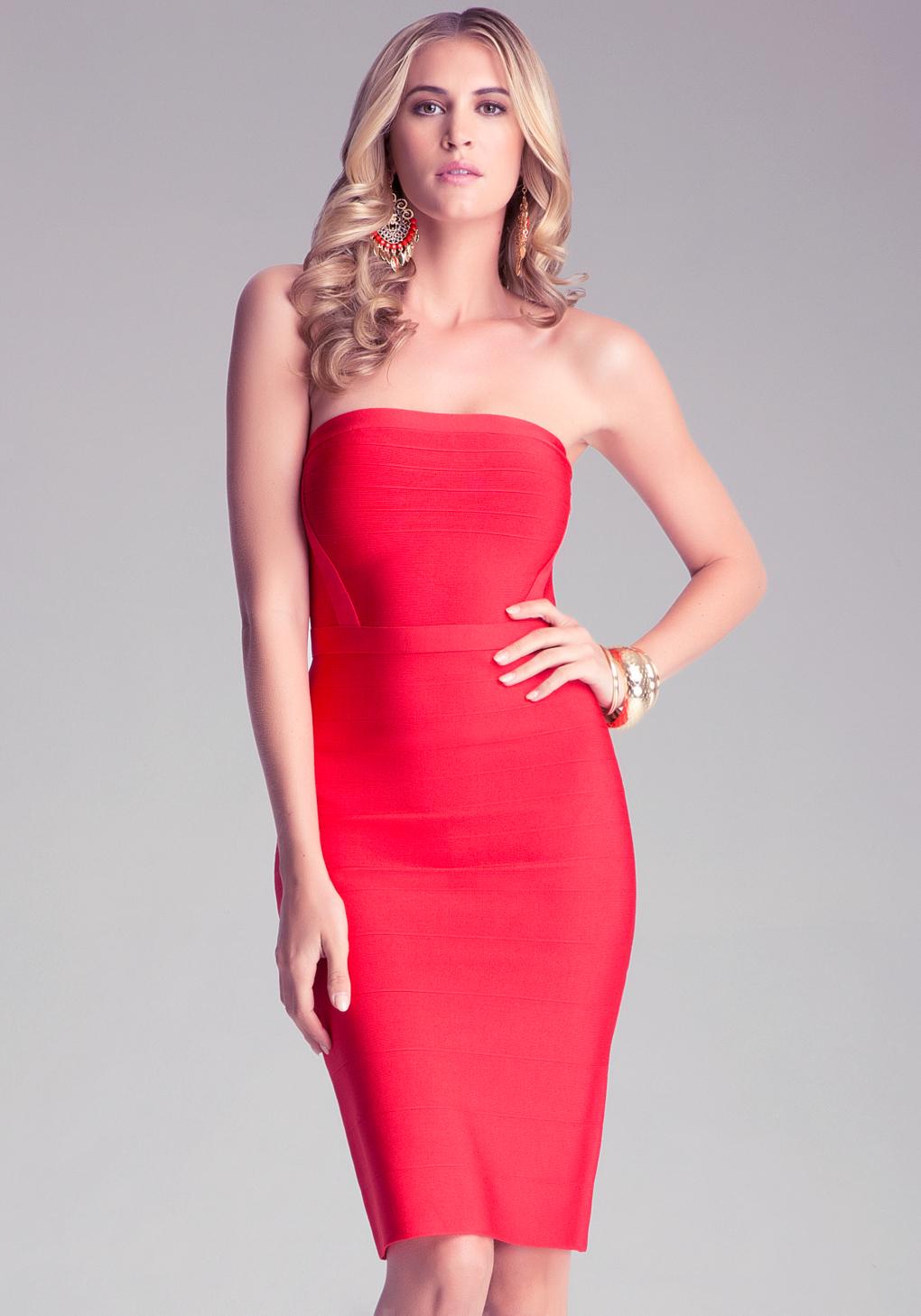 Bebe Drop Needle Tube Dress In Red Lyst