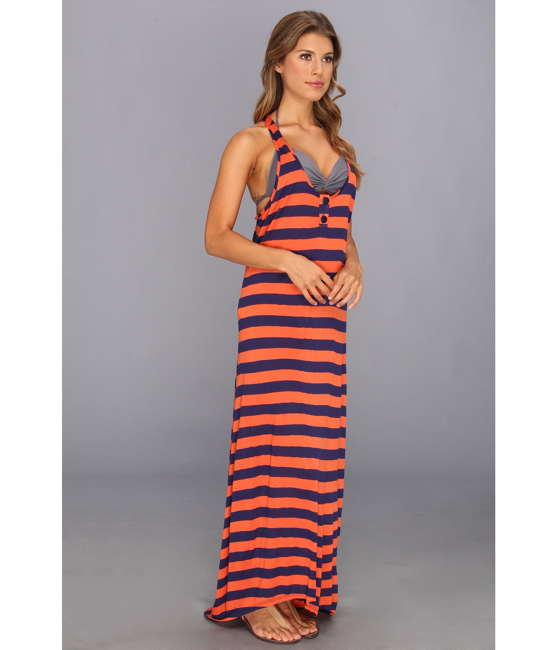 8abeece9f751d Splendid Marcel Stripe Maxi Dress Coverup in Orange - Lyst