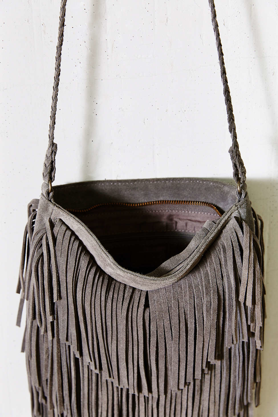Ecote Suede Layered Fringe Crossbody Bag in Gray | Lyst