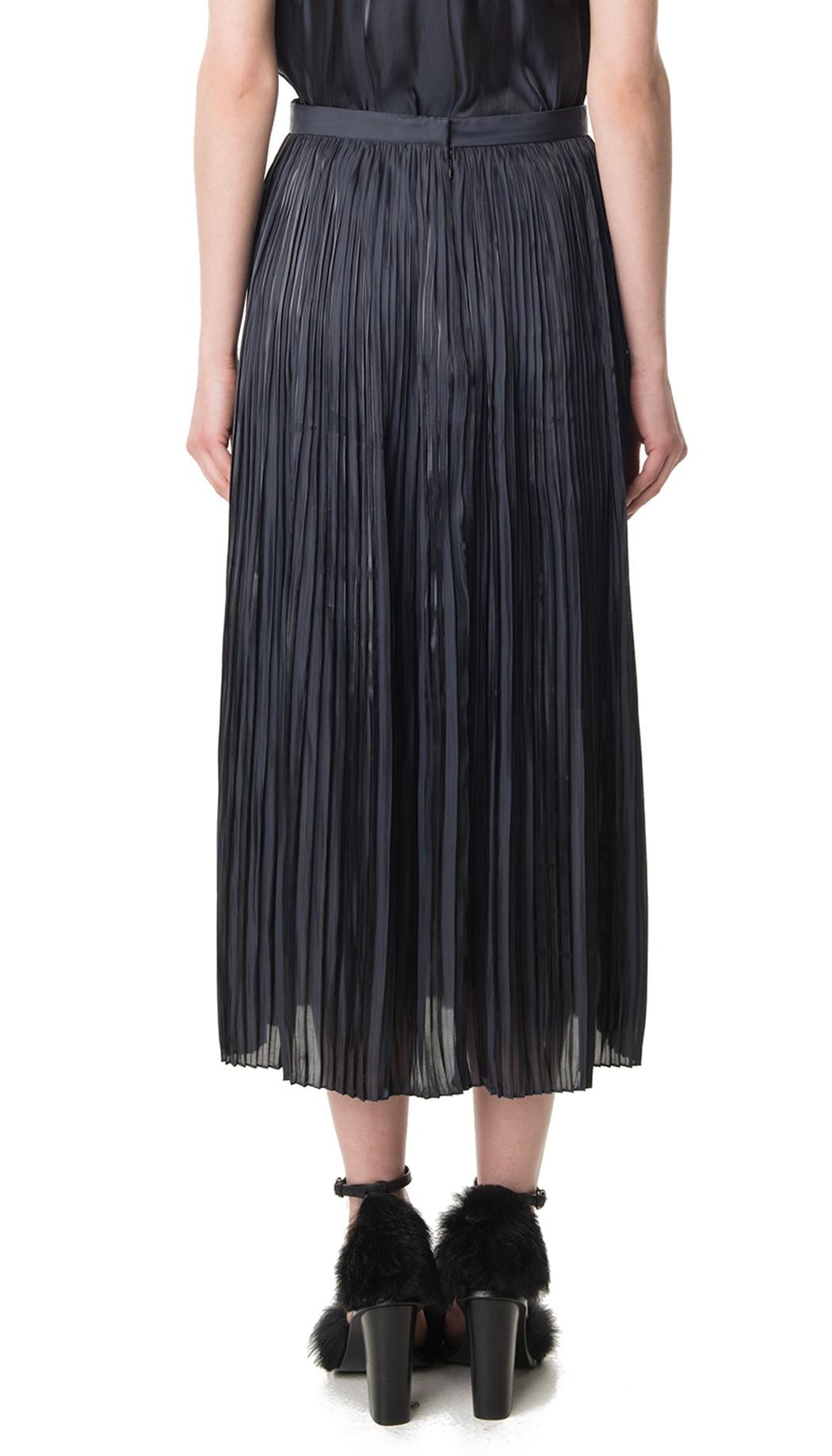 tibi flume pleated skirt in black lyst