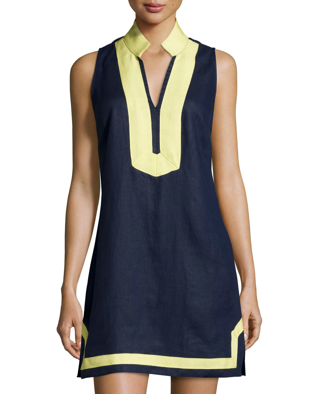Sail to sable Classic Linen Sleeveless Dress in Yellow