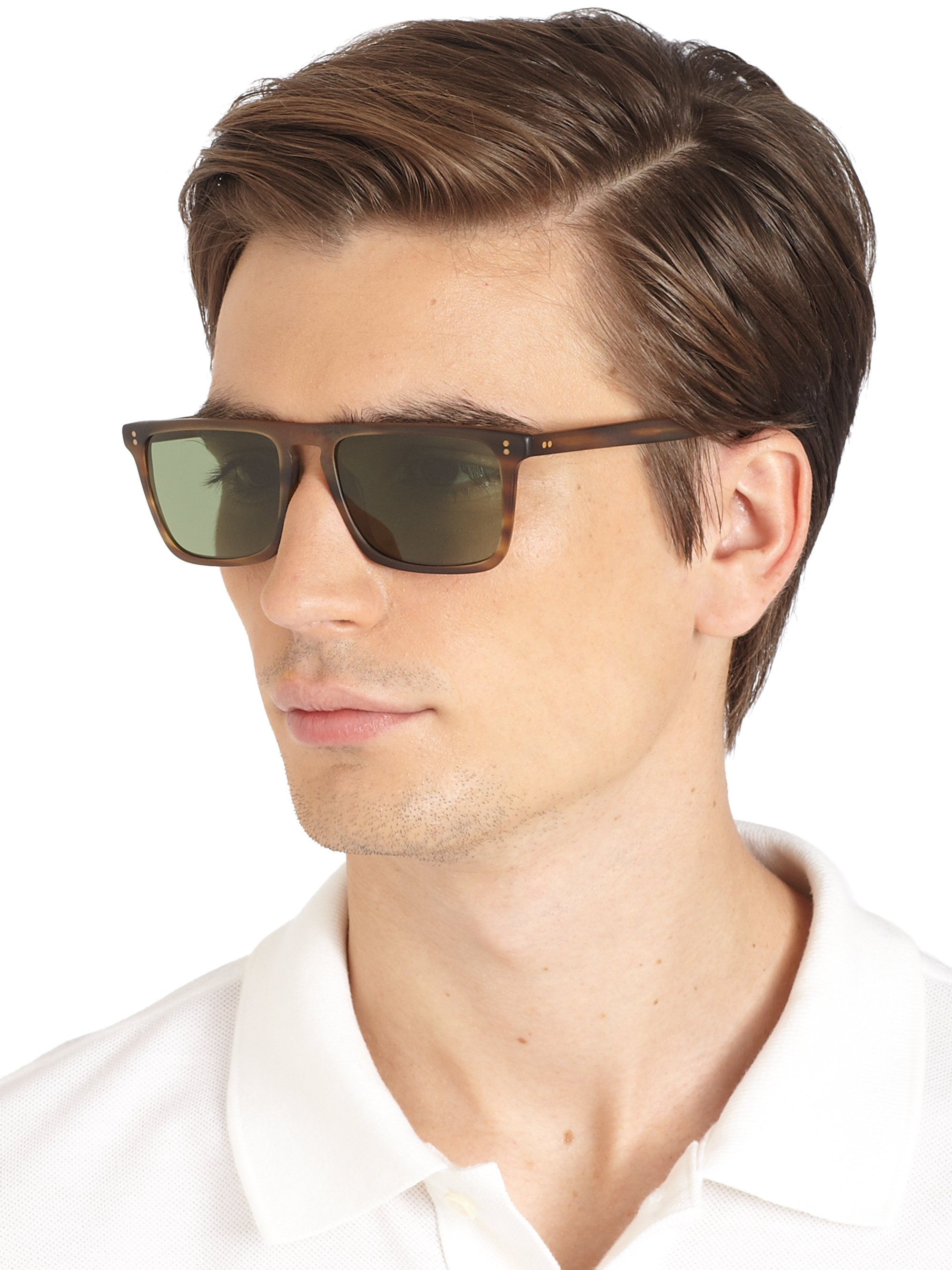 Oliver Peoples Bernardo Rectangle Sunglasses In Brown For