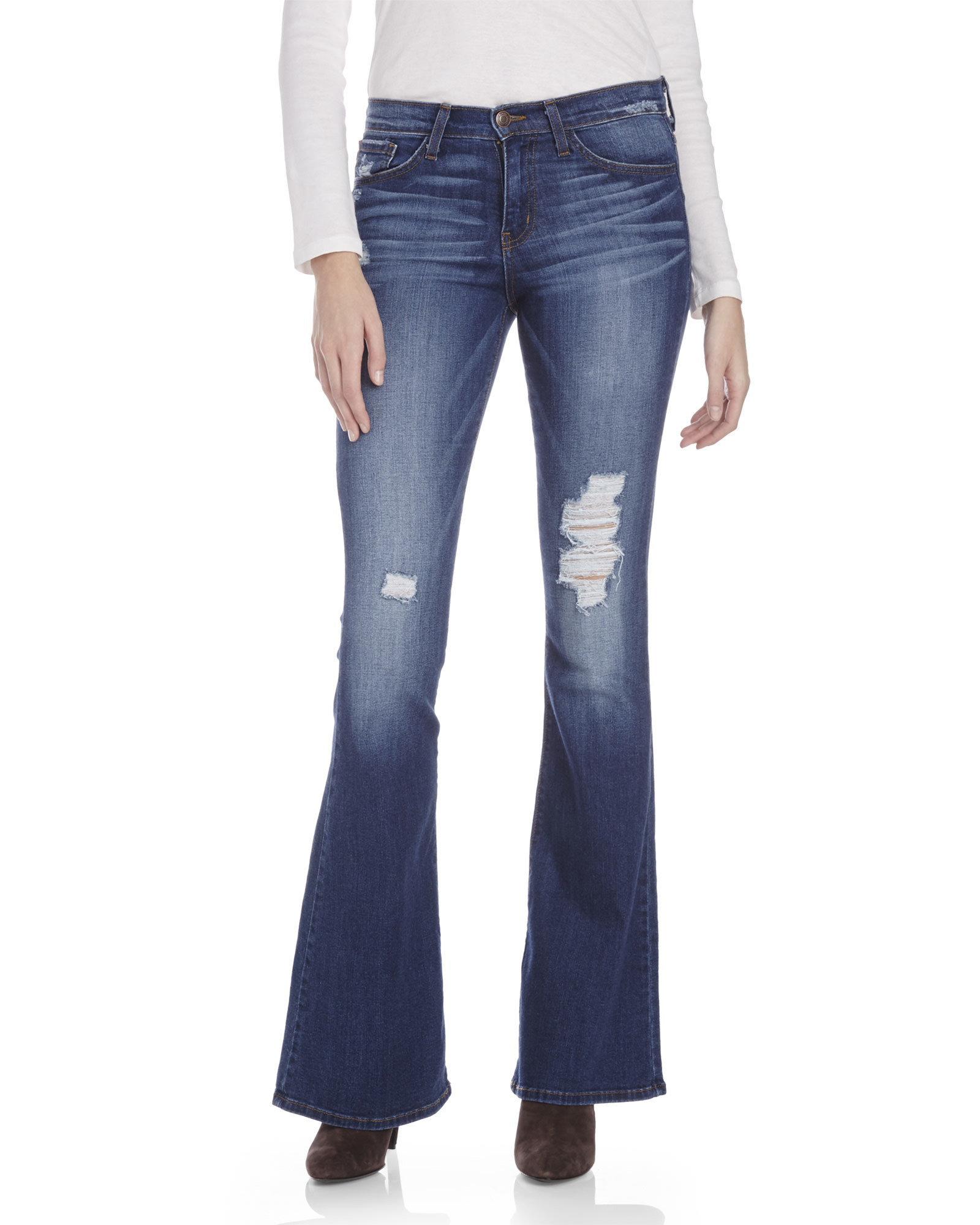 Flying monkey Distressed Flare Jeans in Blue | Lyst