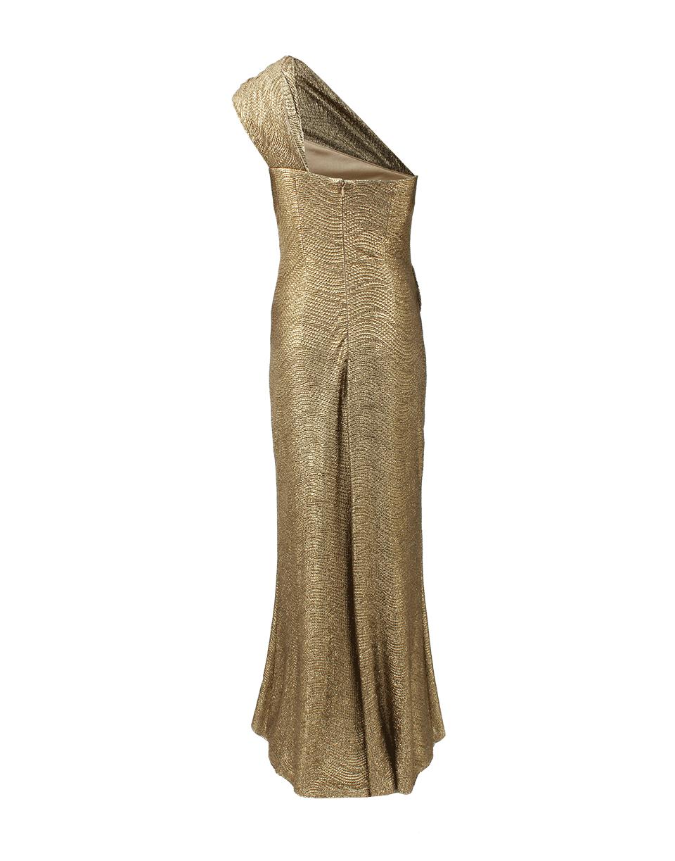 David Meister One Shoulder Metallic Lame Gown in Metallic - Lyst