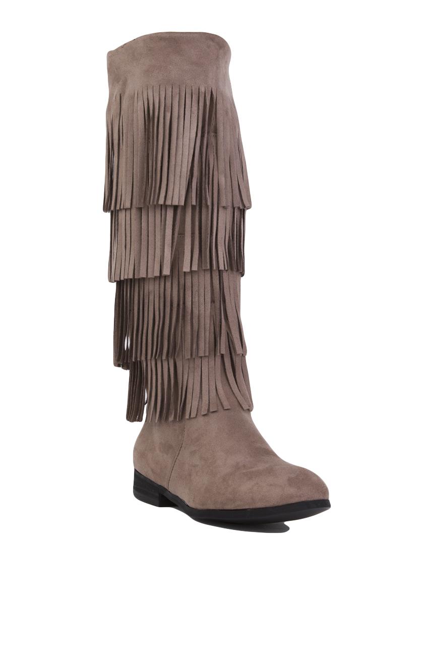 Akira black label 4 Layer Fringe Boots in Gray | Lyst