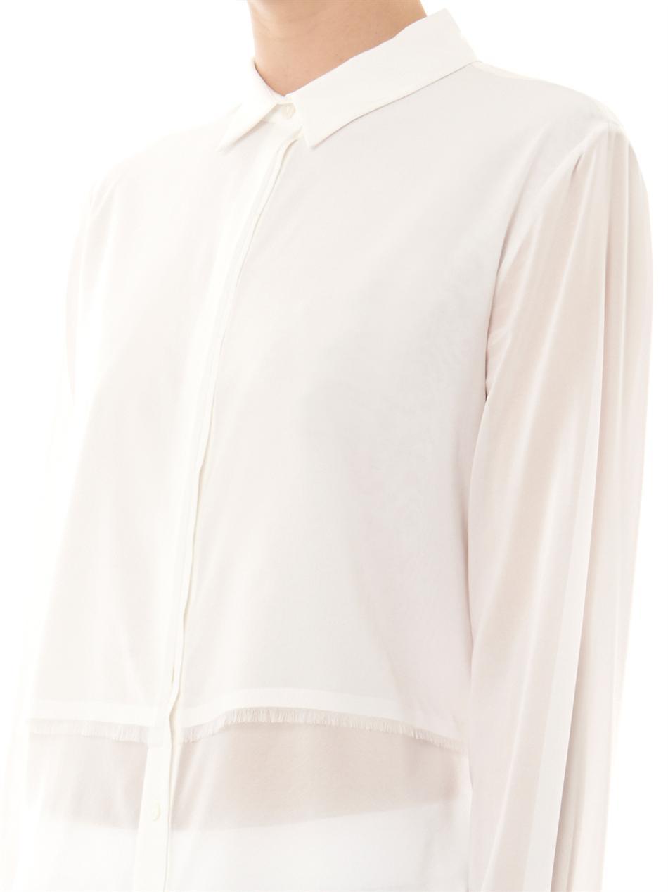 984511e0b2747f Lyst - T By Alexander Wang Silk-Chiffon Shirt in White