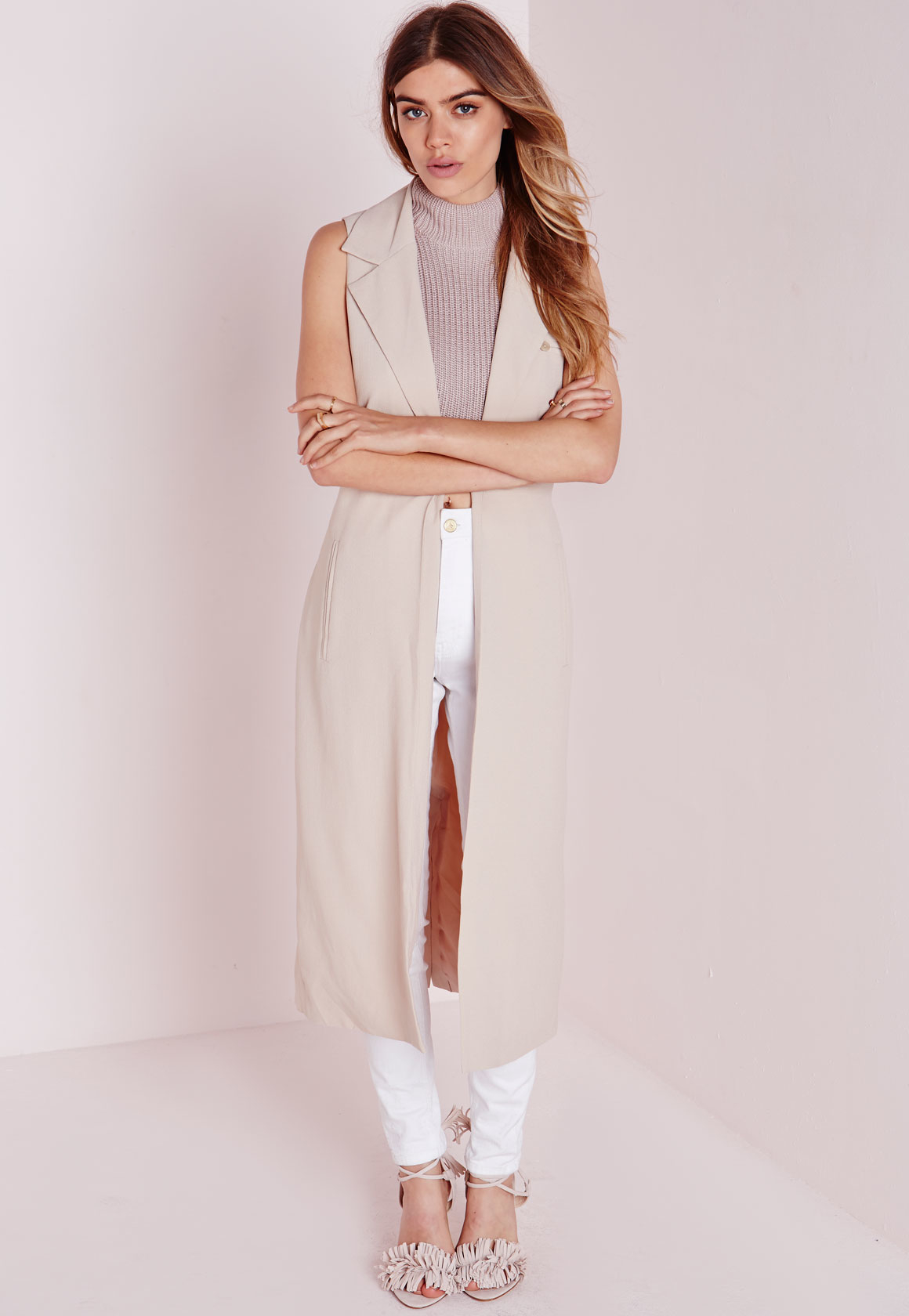 72f7dfb108f0d2 Missguided Sleeveless Belted Longline Duster Coat Nude in Natural - Lyst