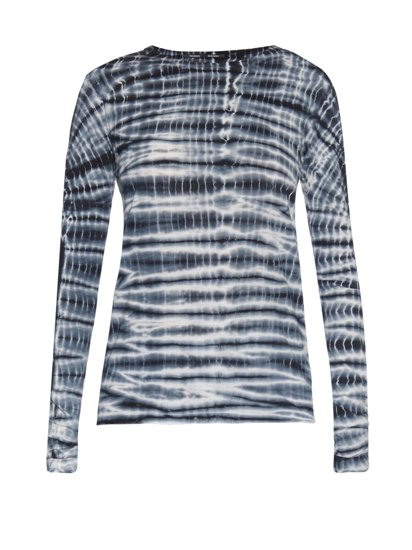 Lyst proenza schouler tie dye print jersey t shirt in black for Black and blue tie dye t shirts