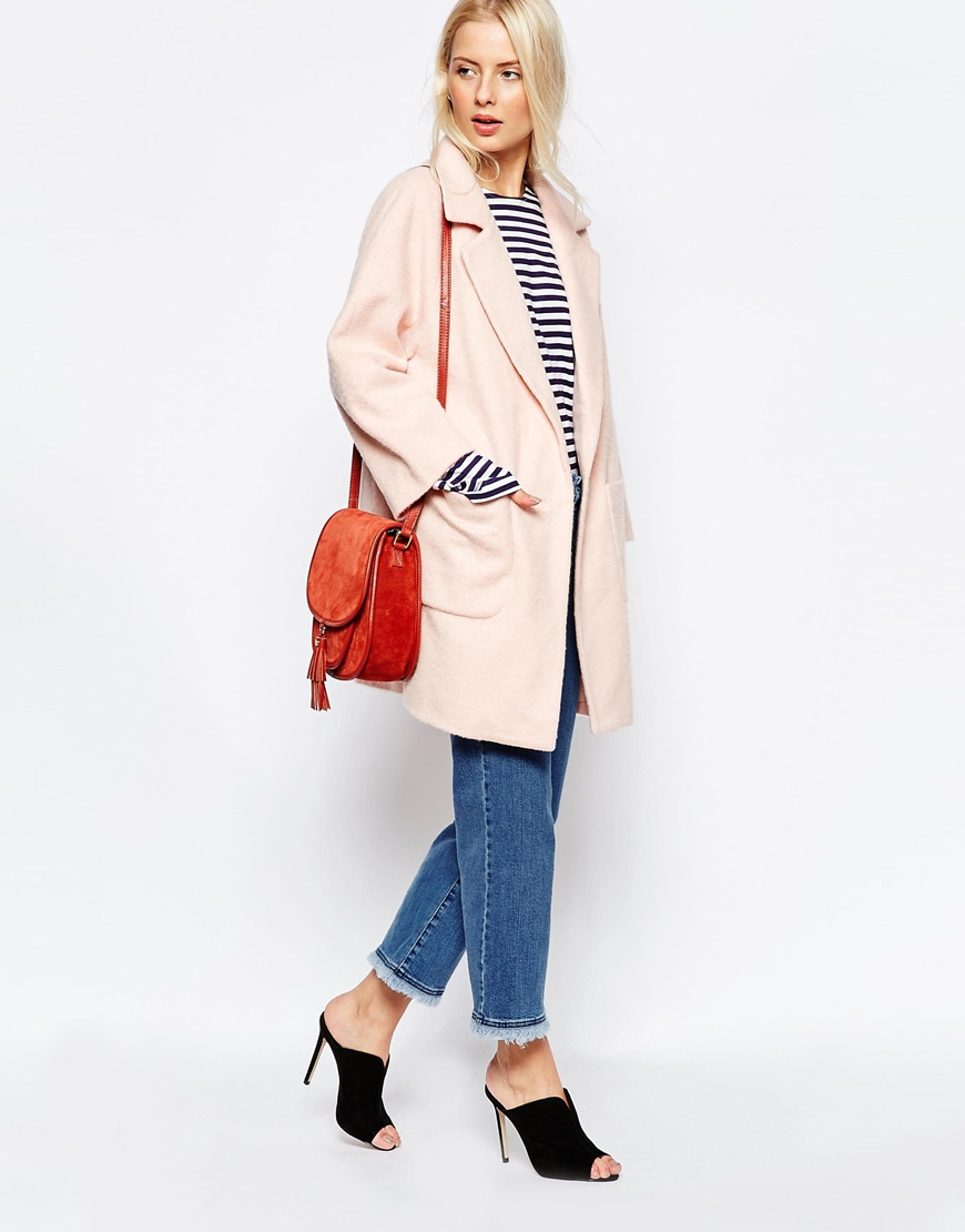 Ganni Inglewood Pink Coat in Pink | Lyst