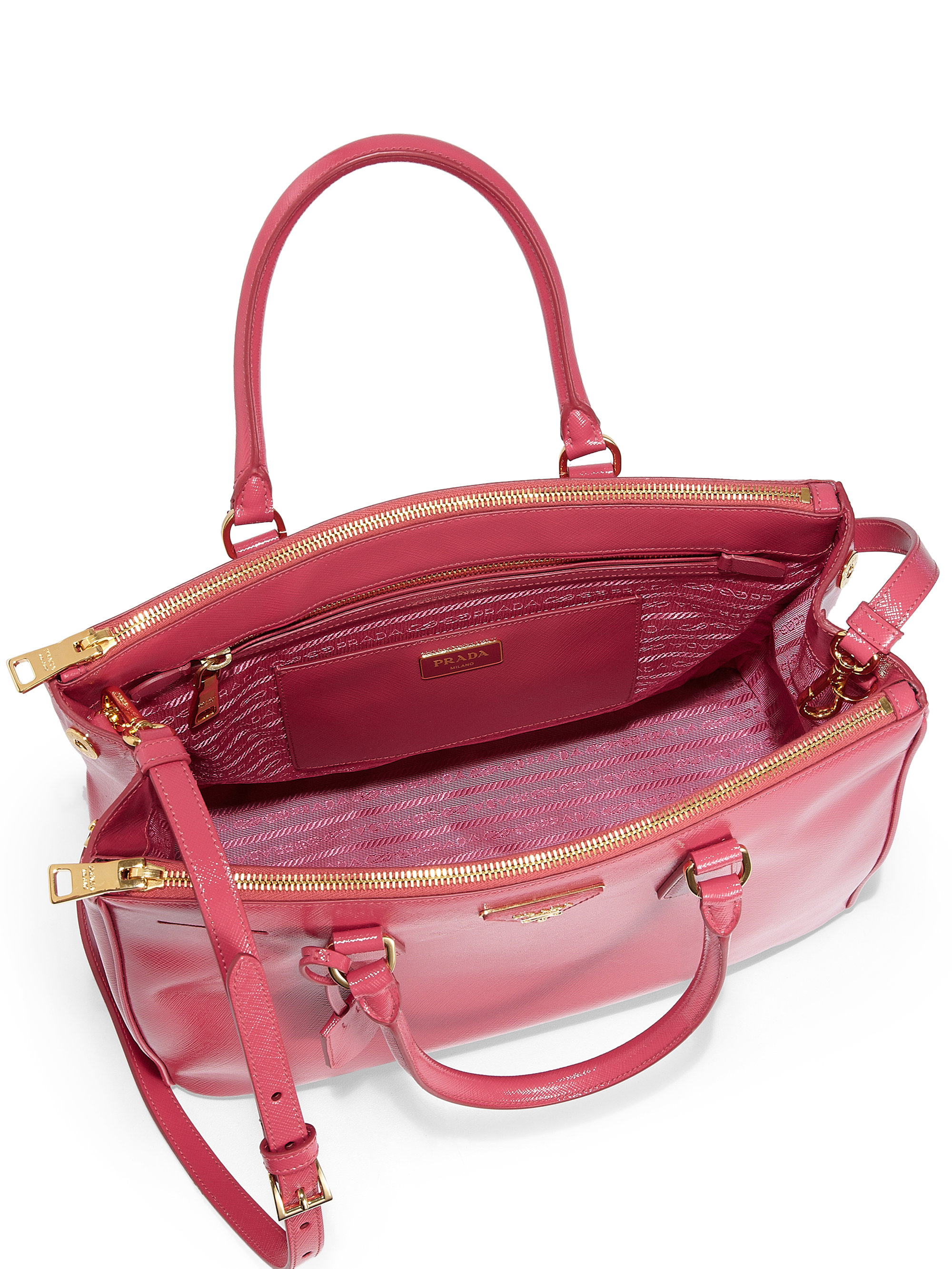 dark blue purse - Prada Saffiano Vernice Zip Tote in Pink (PEONIA-PINK)   Lyst
