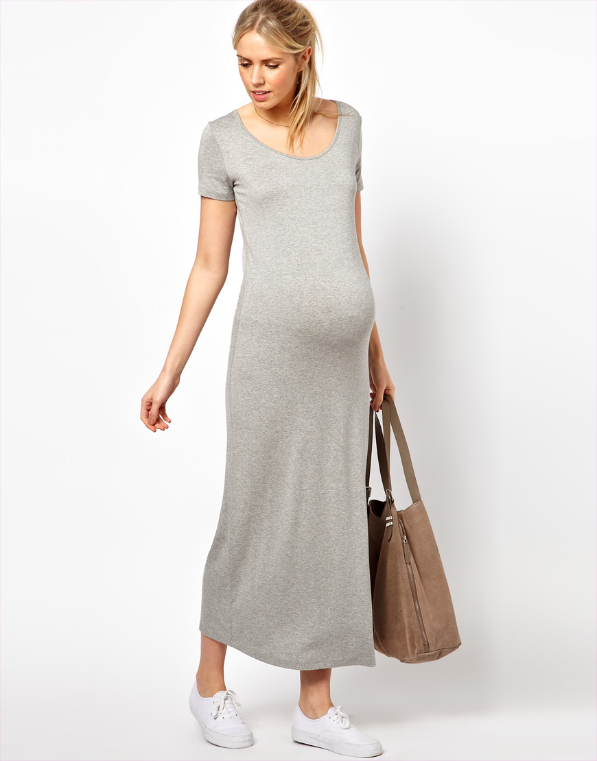Asos Maxi Dress With T Shirt Sleeve In Black Lyst