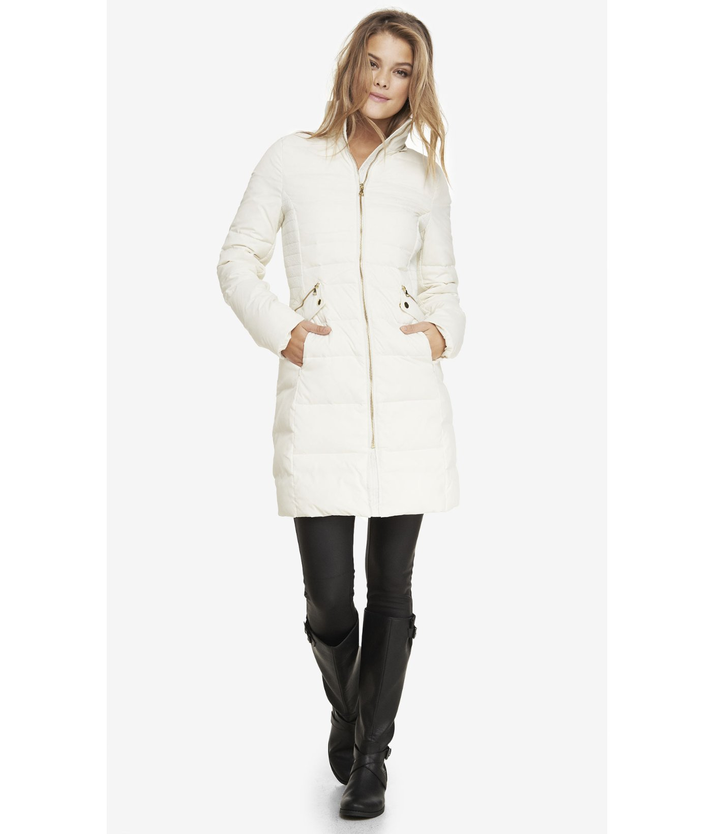 Express Hooded Faux Fur Trim Fitted Puffer Coat in White | Lyst