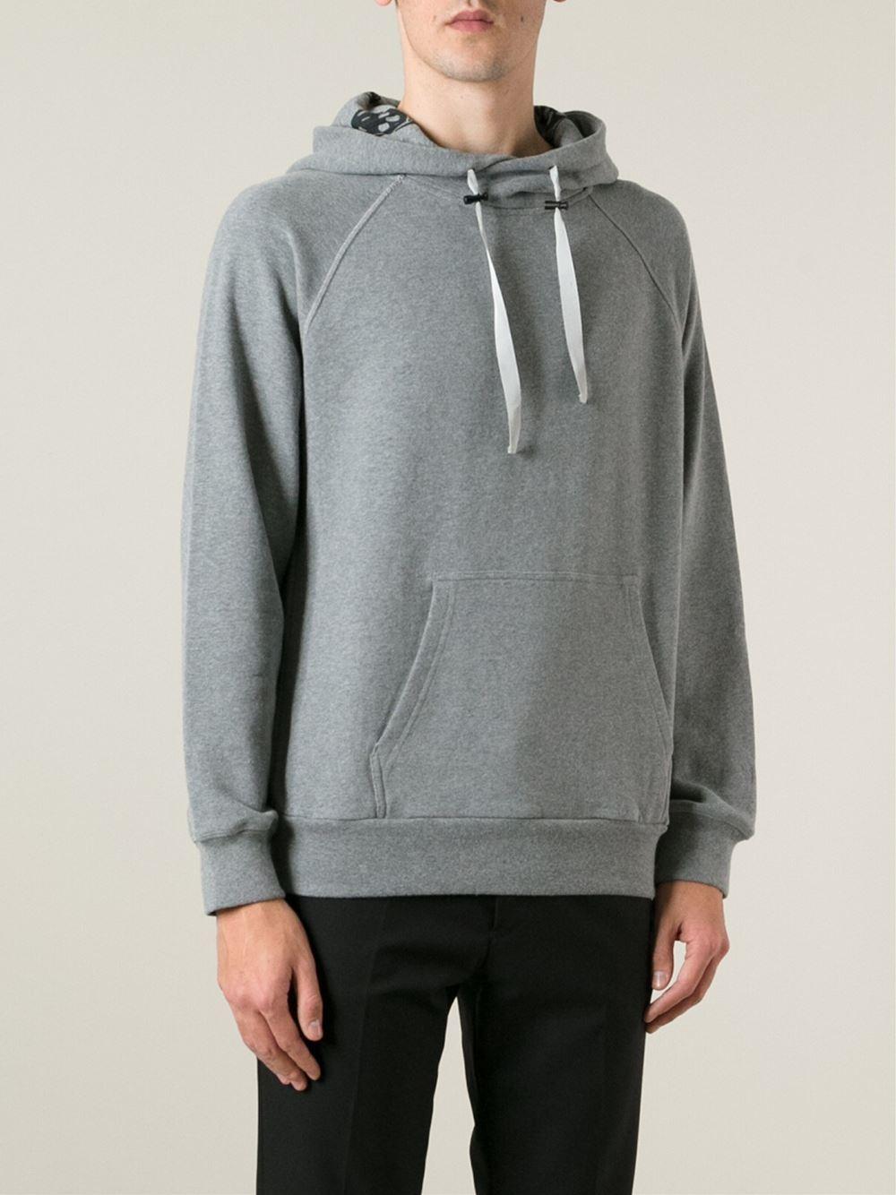 alexander mcqueen drawstring cotton hoodie in gray for men grey lyst. Black Bedroom Furniture Sets. Home Design Ideas