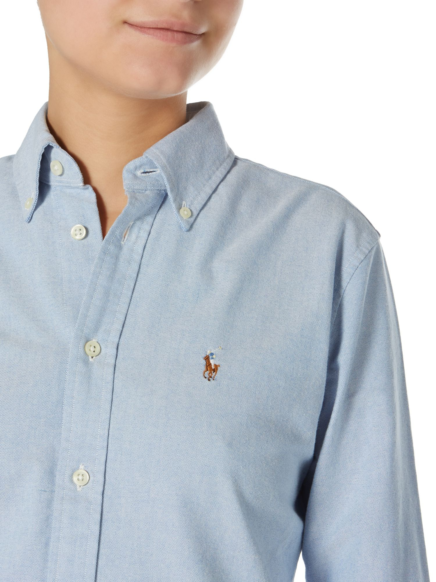Lyst polo ralph lauren harper long sleeved shirt in blue for Womans long sleeve shirts