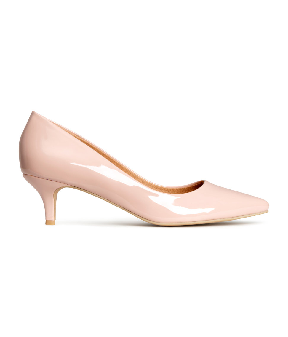 2ee9208bdac Lyst - H M Court Shoes With A Kitten Heel in Natural