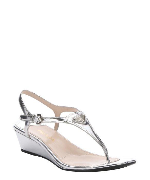 embellished T-bar sandals - Metallic Prada Outlet Ebay vuYhY
