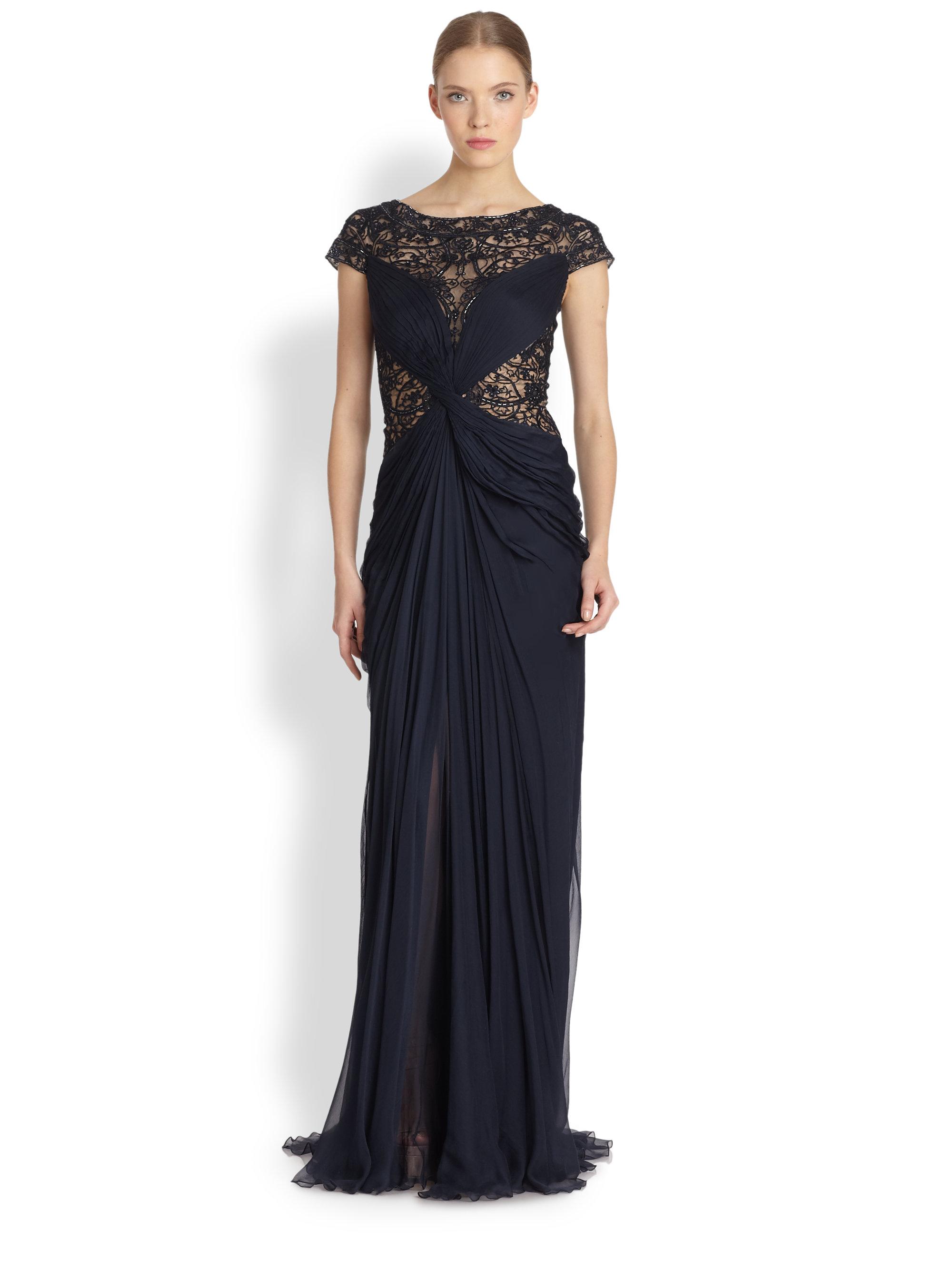 Lyst - Tadashi Shoji Illusion-lace Draped Silk Gown in Blue