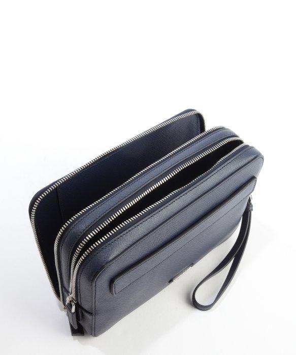 Prada Baltic Blue Saffiano Leather Double Zipper Small Travel Bag ... - Prada briefcase baltic blue