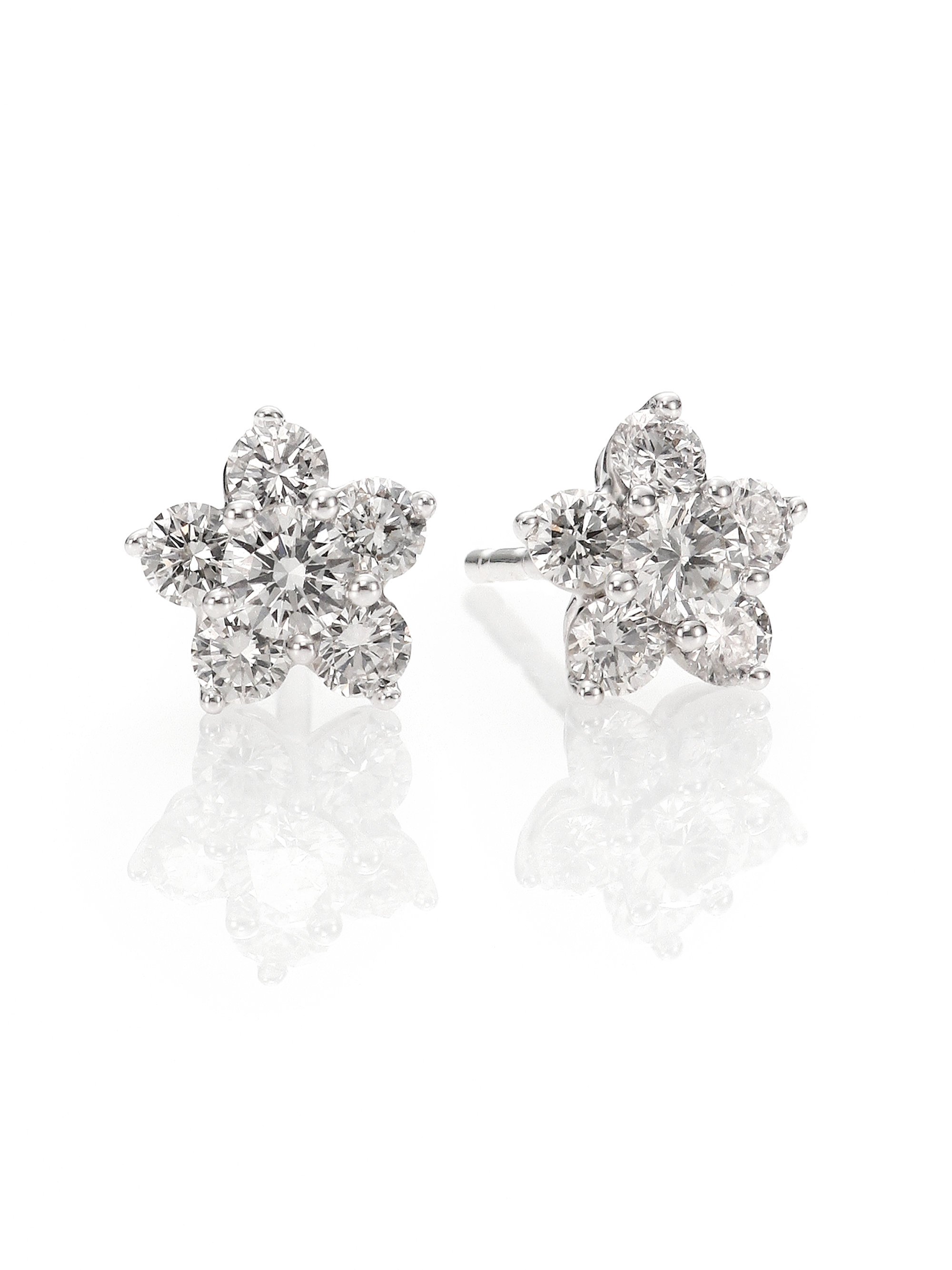 l diamond cluster white gold stud earrings flower