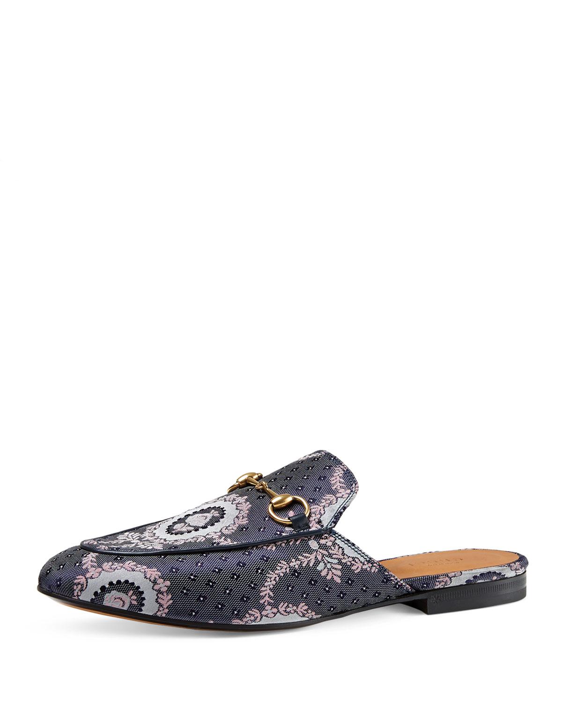 229c400b589 Lyst - Gucci Princetown Paisley Jacquard Horsebit Mule Slipper Flats ...