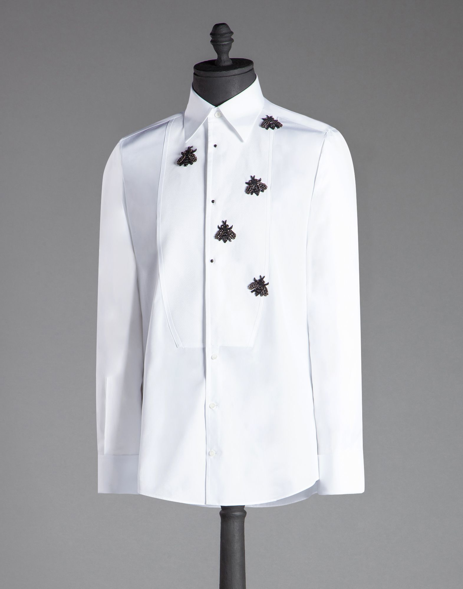 Lyst dolce gabbana gold fit bib shirt with bee