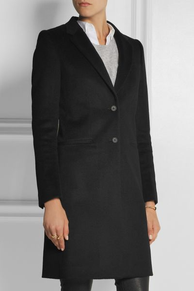 joseph man wool and cashmere blend coat in black lyst