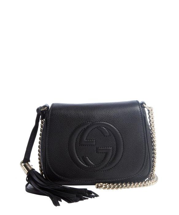 Gucci Black Leather 'Soho' Chain Shoulder Strap Bag in Black | Lyst
