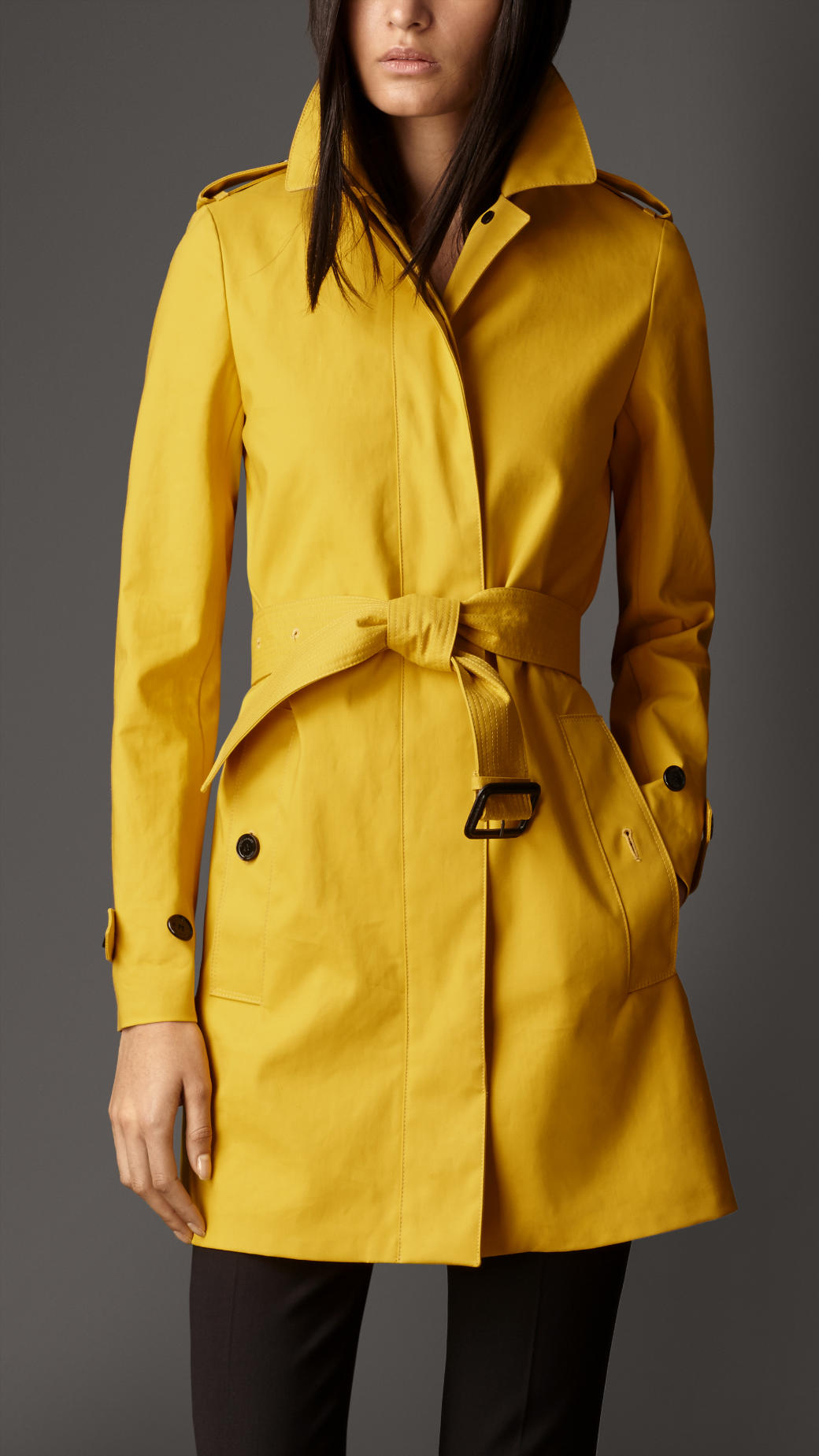 Burberry Midlength Bonded Cotton Trench Coat in Yellow
