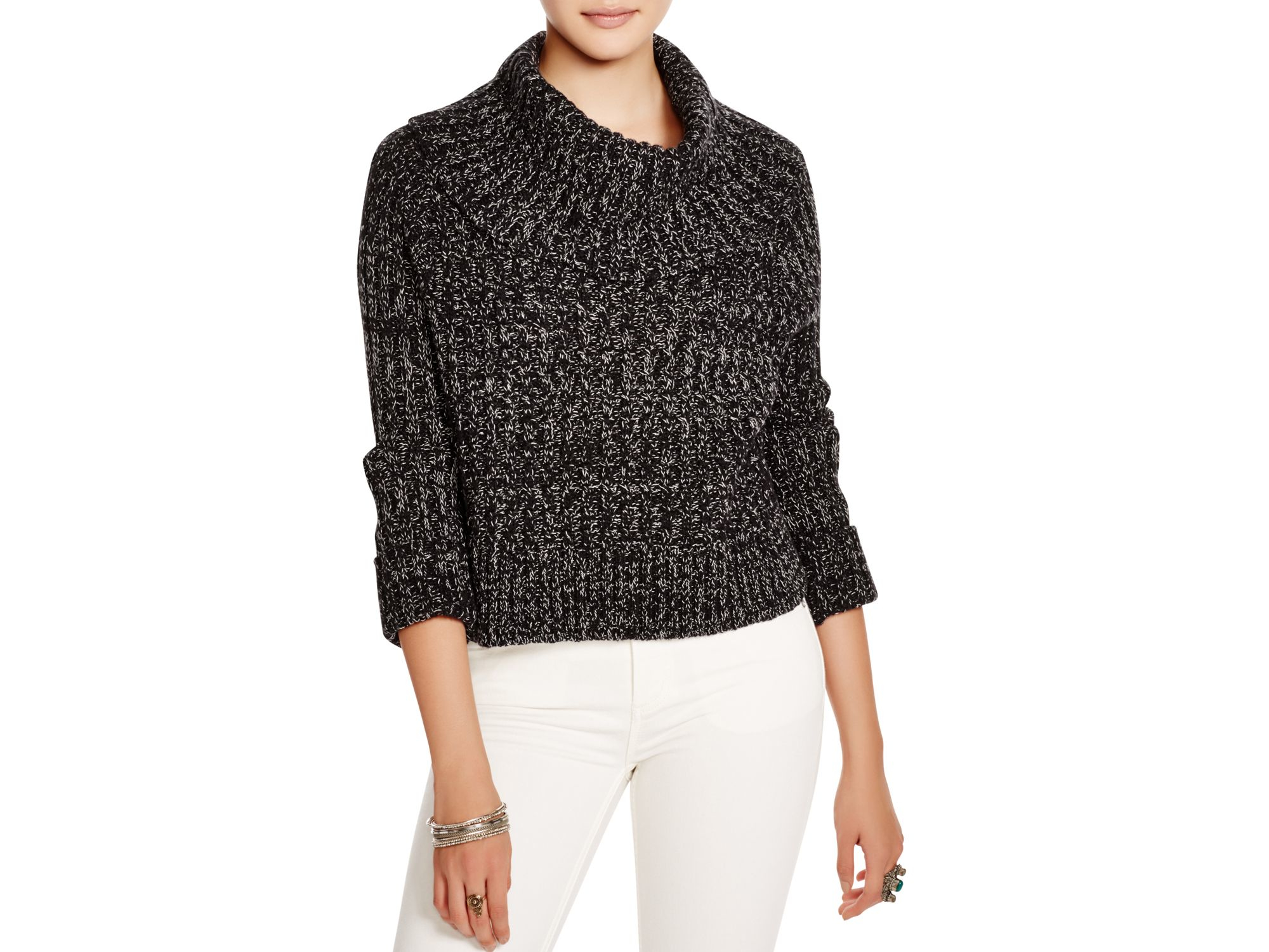 0a700daabb09 Free people Twisted Cable Sweater in Gray (Black Combo)