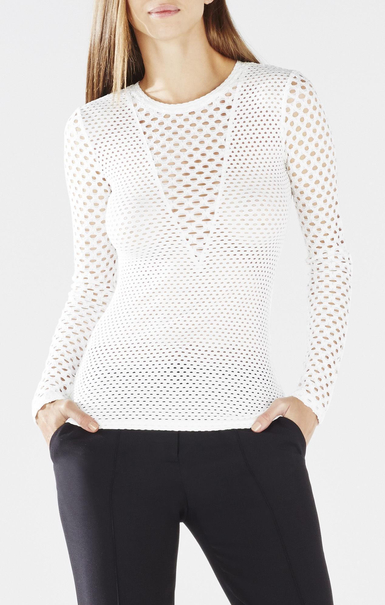 Lyst - BCBGMAXAZRIA Elain Long-sleeve Lace Top in White